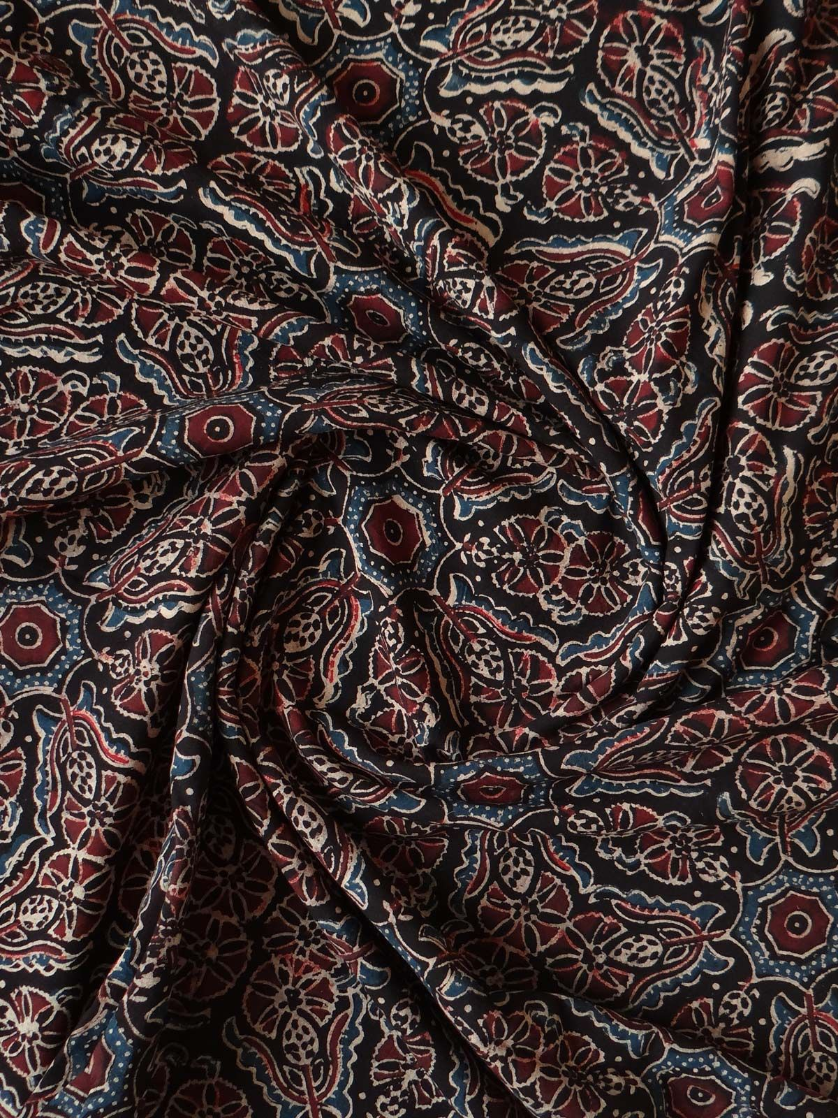 BLOCK PRINTED DARK-BROWN AJRAK FABRIC