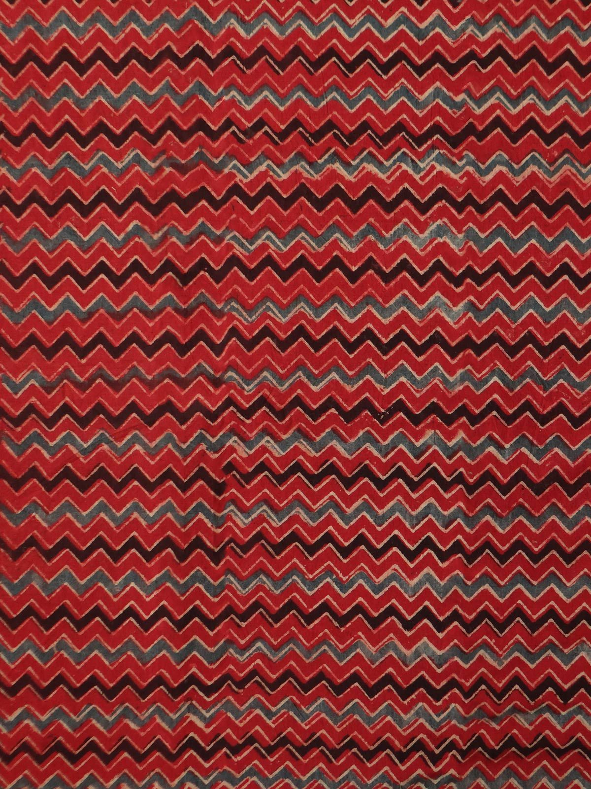 RED AJRAK  FABRIC WITH BLACK AND GREY STRIPES