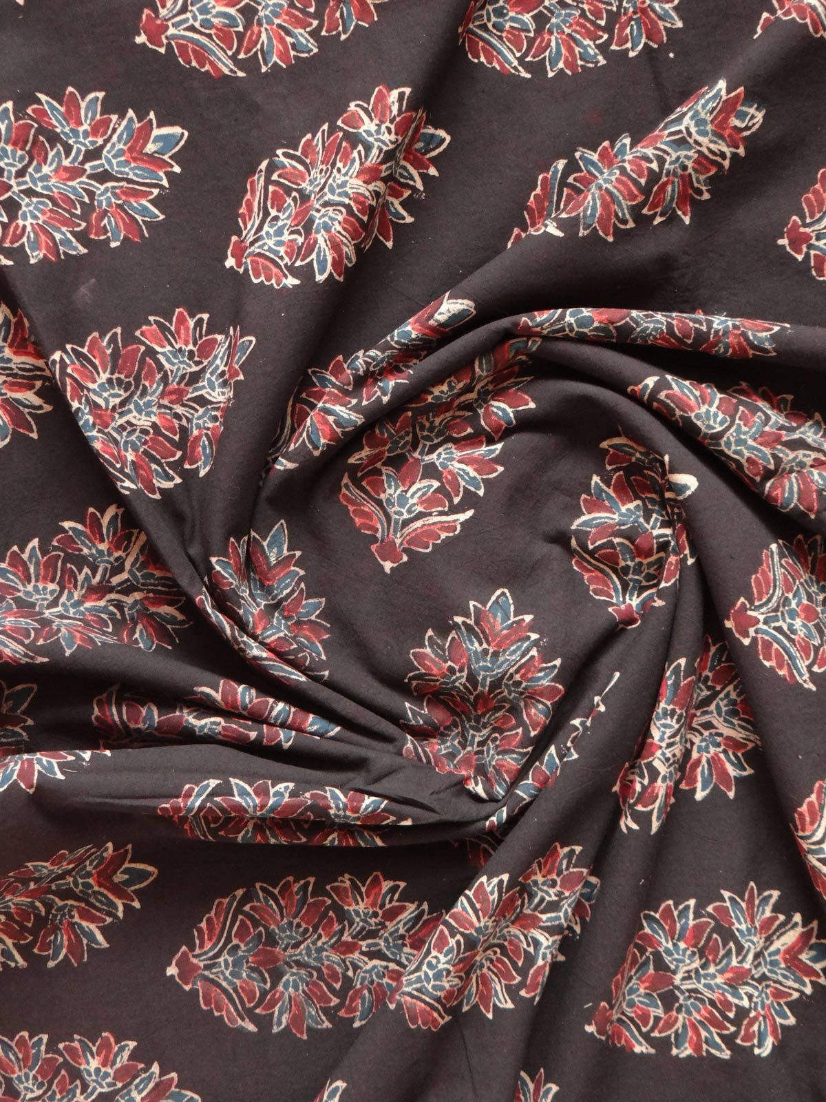 BLOCK PRINTED DARK BROWN YARDAGE FABRIC