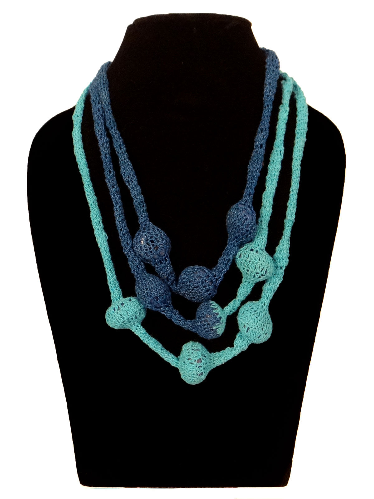Turqouise blue  multi-string crochet fabric necklace