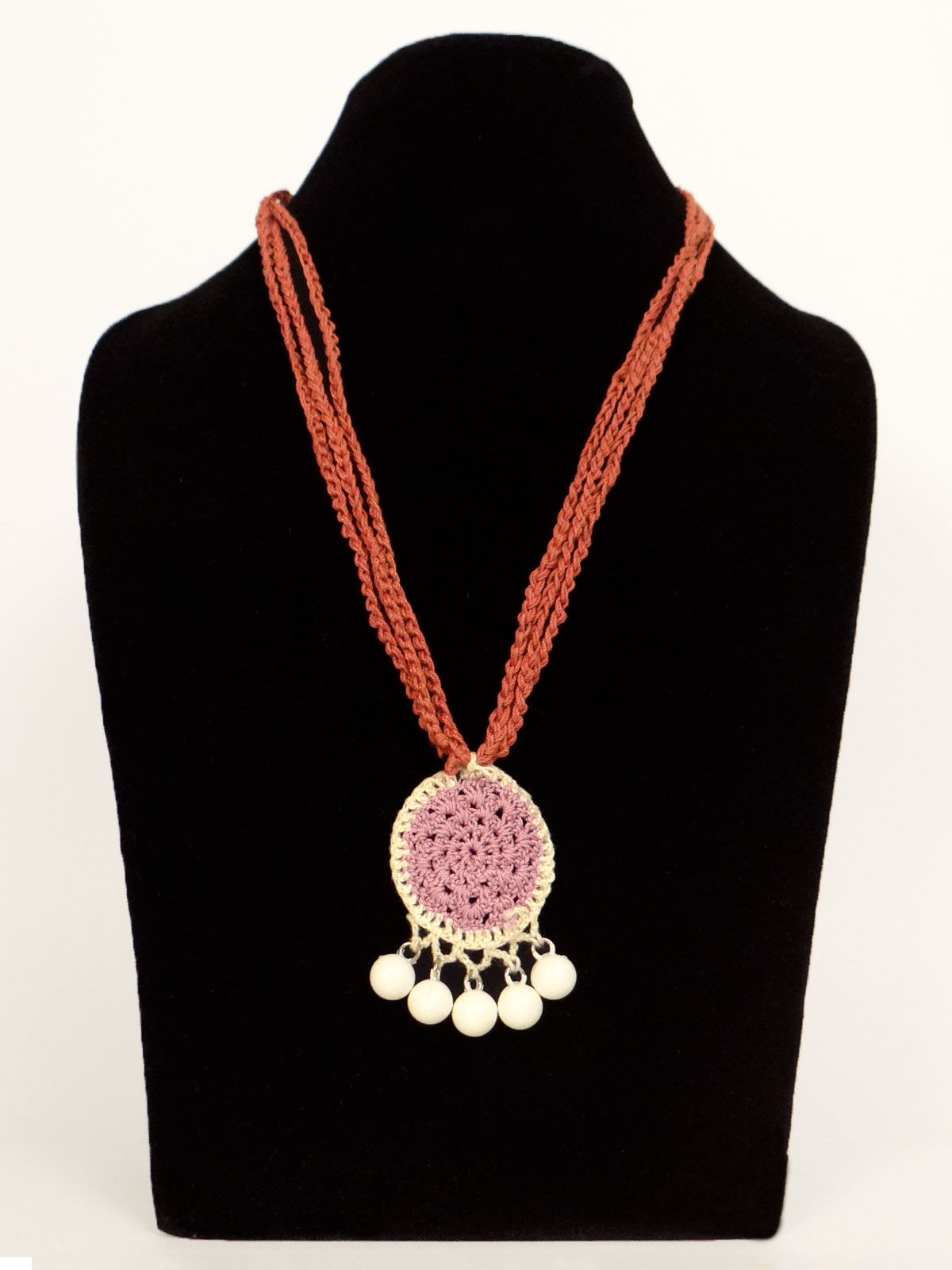 Orange long crochet fabric necklace  with white pearls