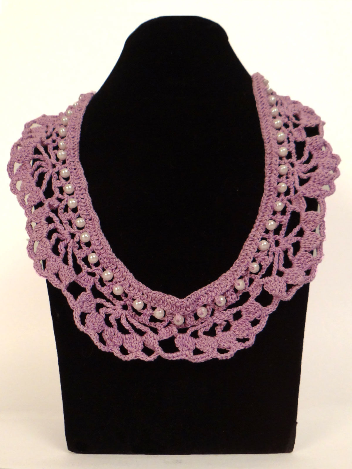 Pink crochet fabric necklace with white pearl beads