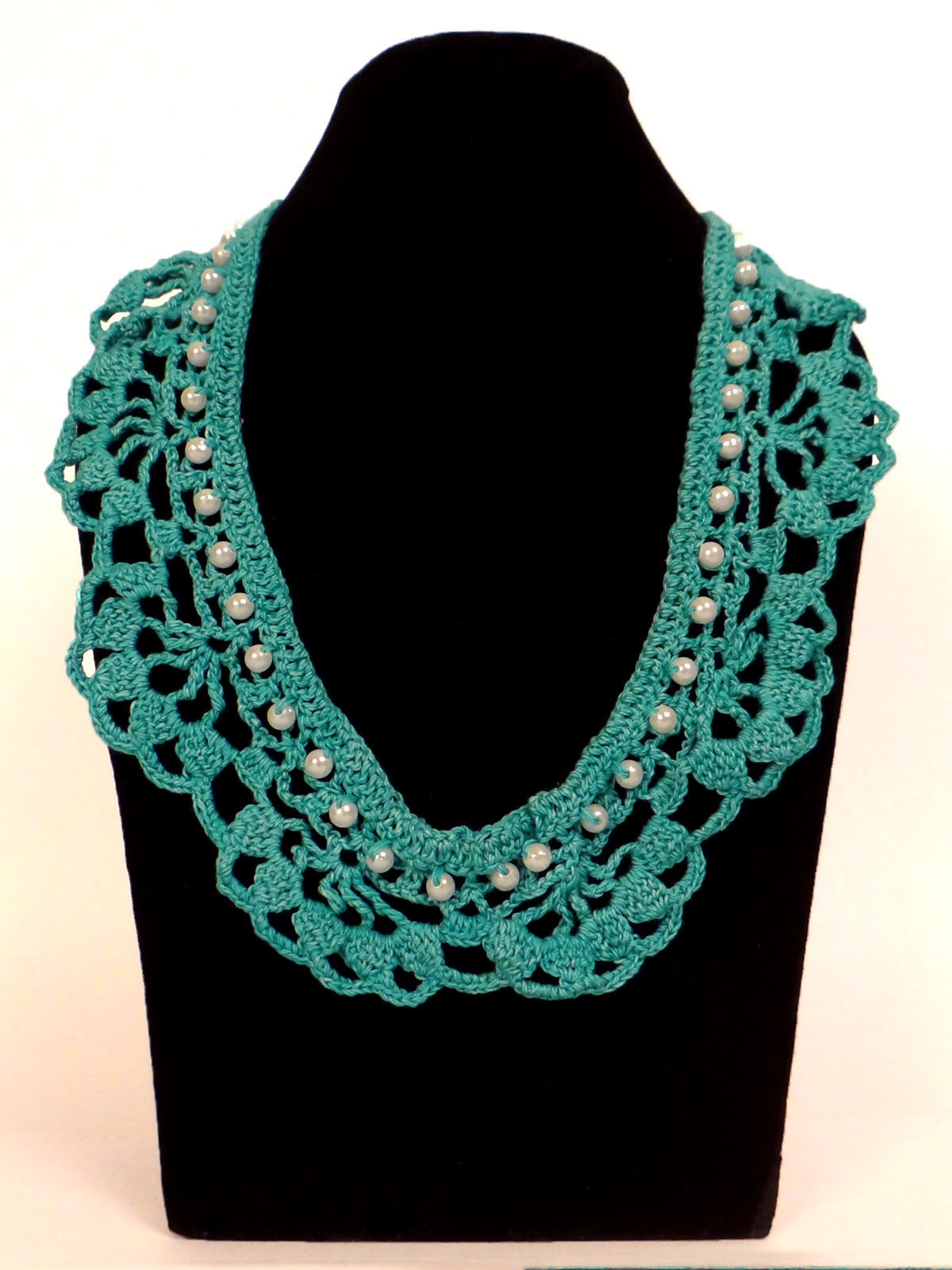 Turquoise  crochet fabric necklace with white pearl beads