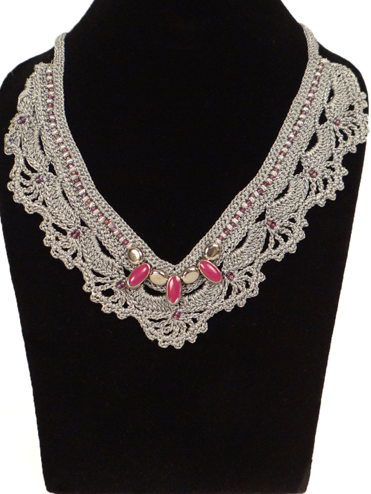 Silver crochet fabric necklace with pink pearl beads