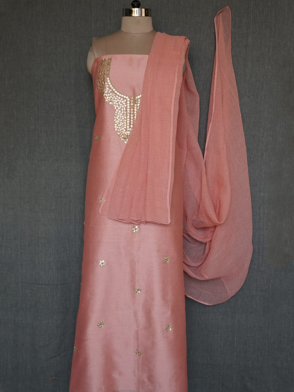 light pink chanderi dress material with gota patti work and kota cotton dupatta