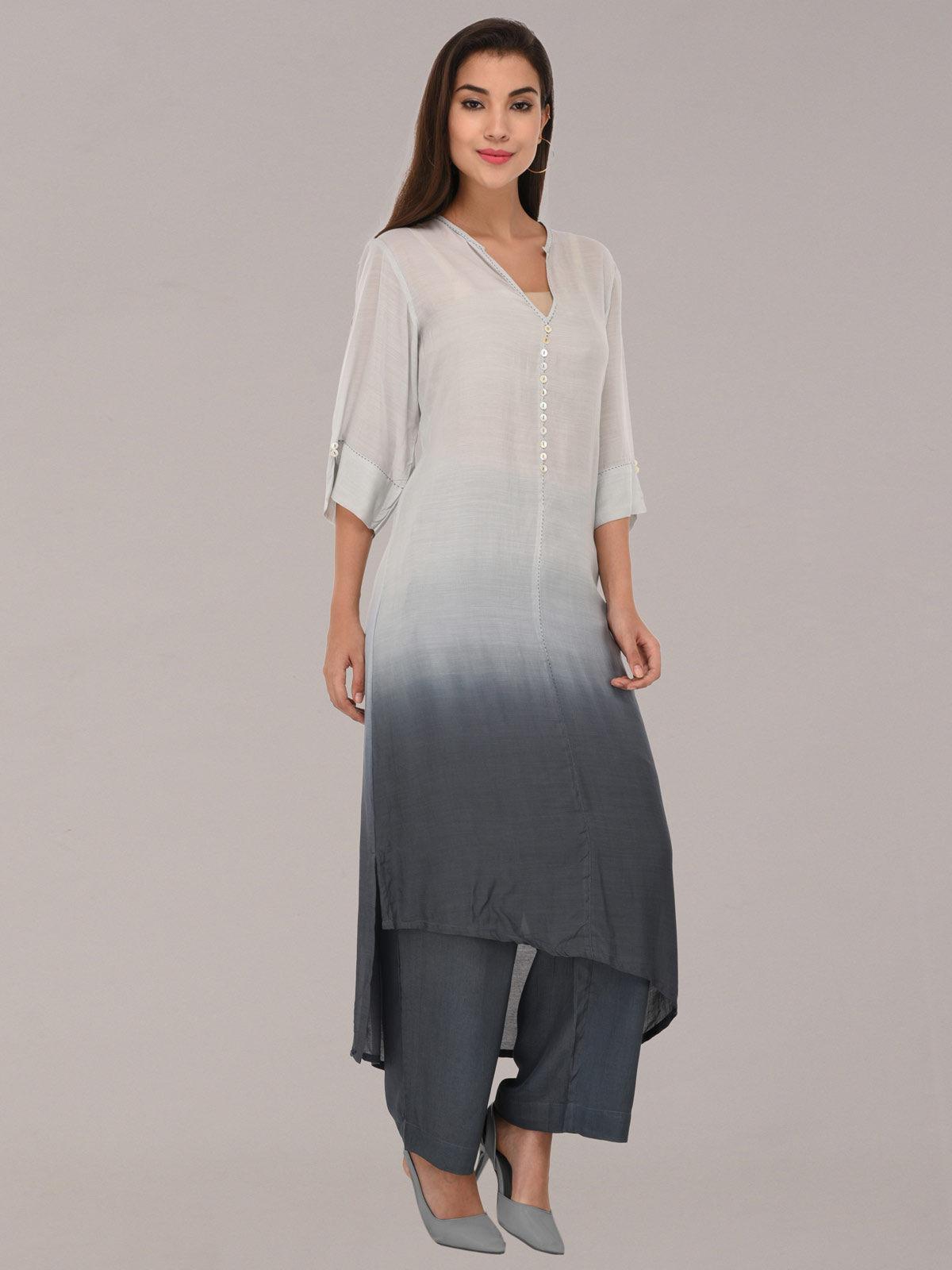 Modal ombre light & dark grey tunic with bottom