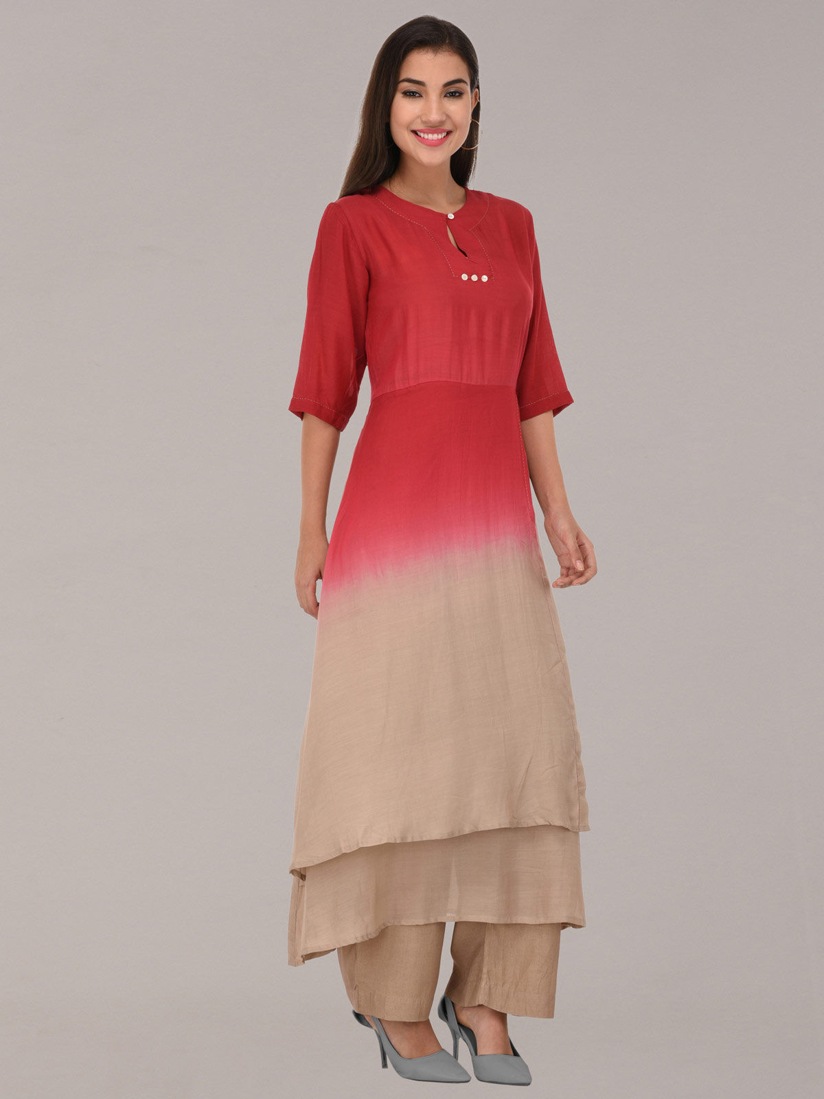 Modal ombre pink & beige tunic with bottom