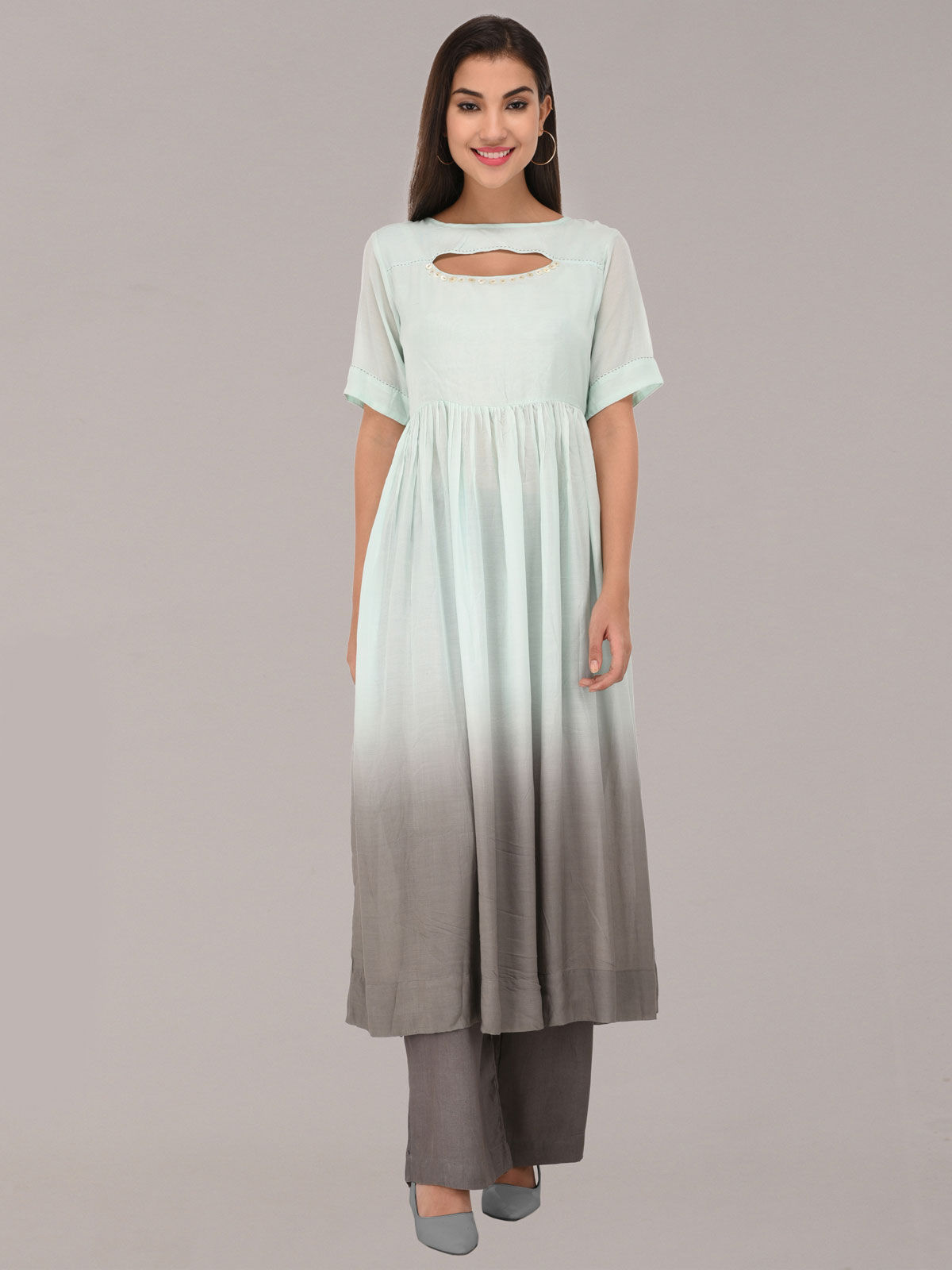 Modal ombre pastel turq & grey tunic with bottom