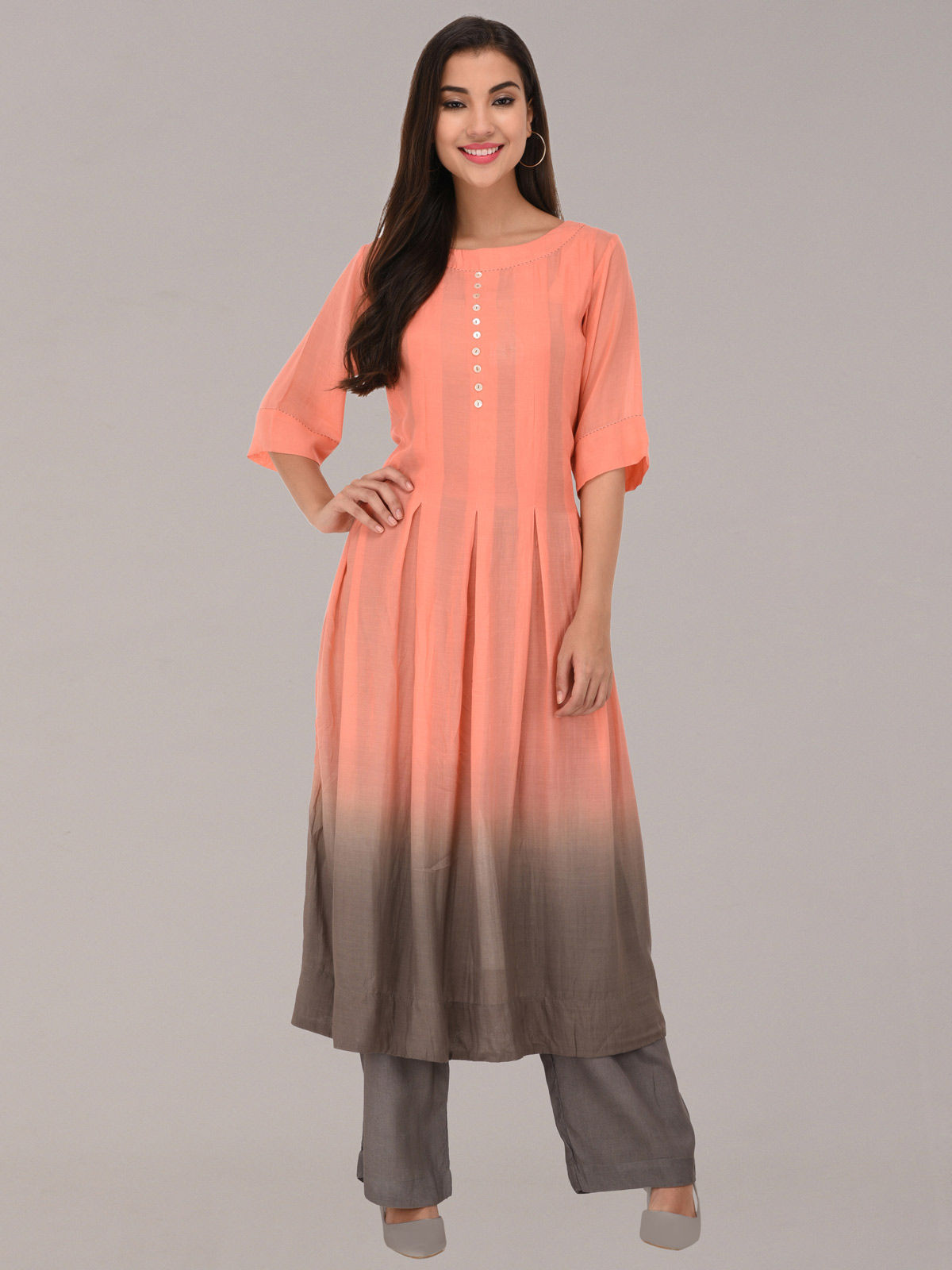 Modal ombre peach & grey tunic with bottom