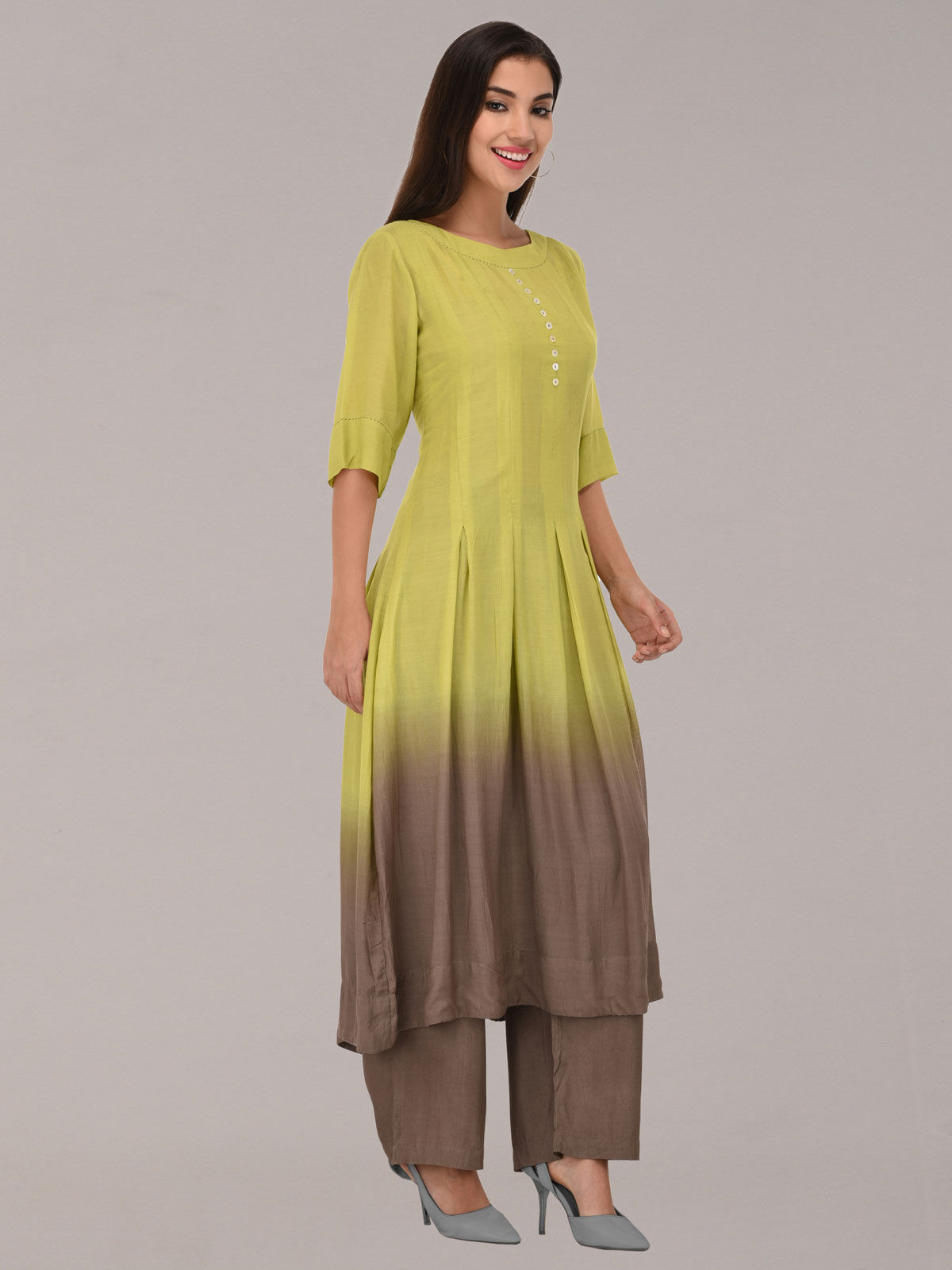 Modal ombre green & grey tunic with bottom