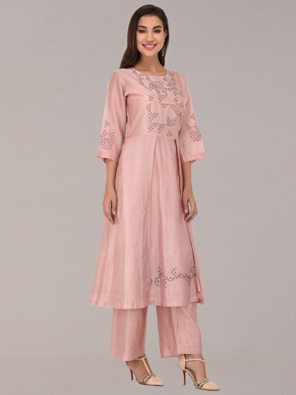 Embroided peach chanderi silk flap tunic with bottom