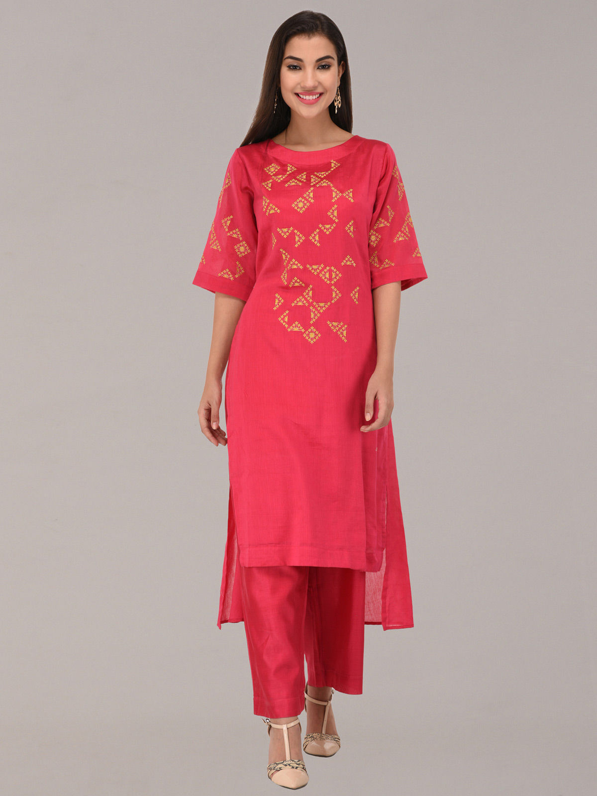 Embroided pink chanderi silk straight tunic with bottom