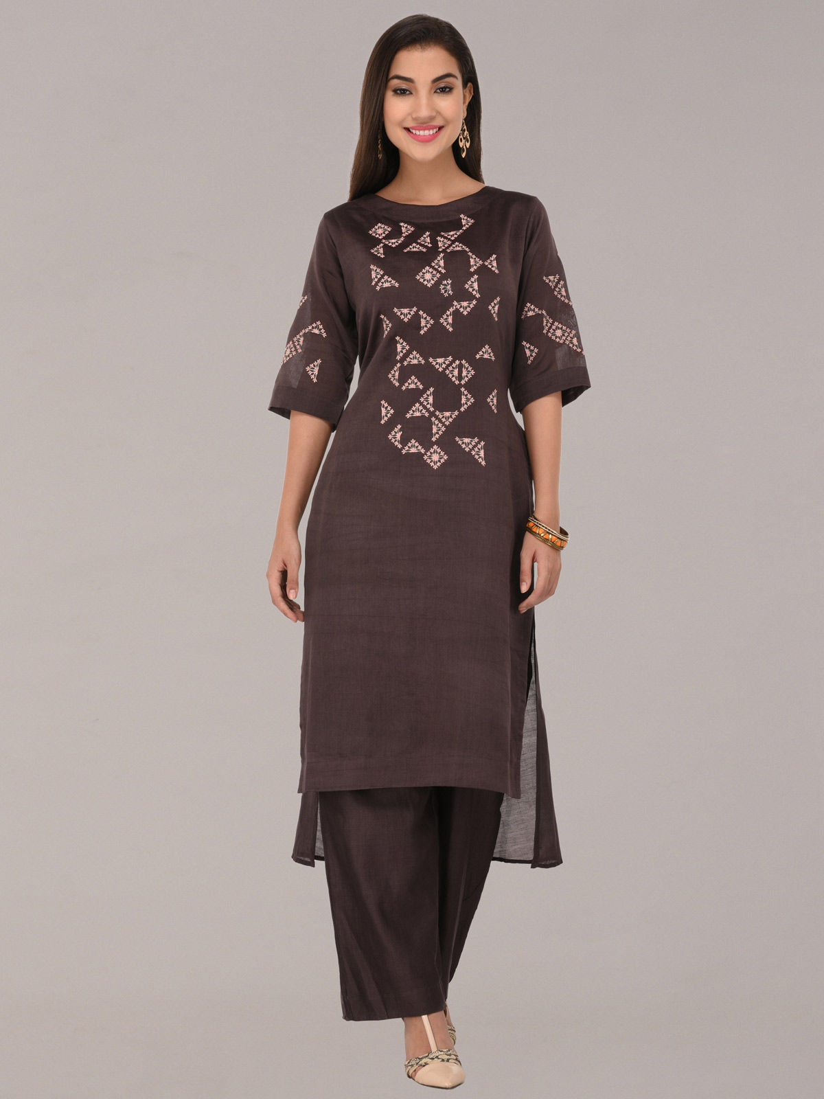 Embroided coffee chanderi silk layered tunic with bottom