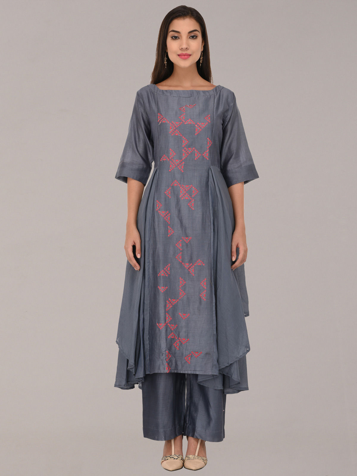 Embroided grey chanderi silk flare tunic with bottom