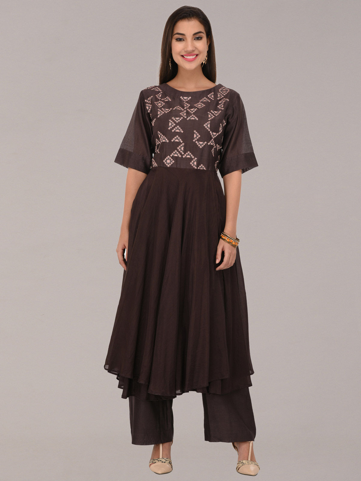 Embroided coffee chanderi silk multi layered tunic with bottom