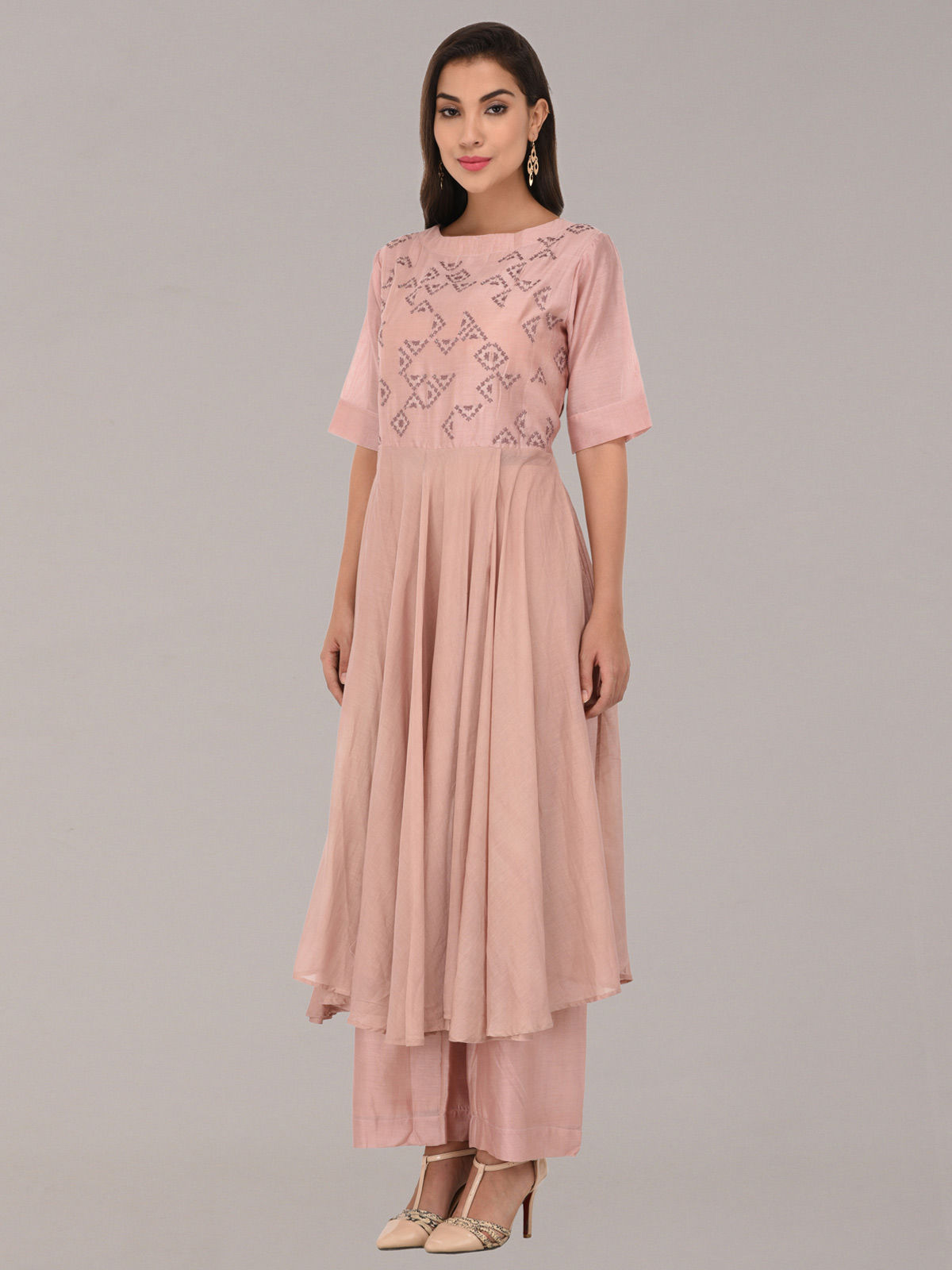 Embroided peach chanderi silk tunic with bottom