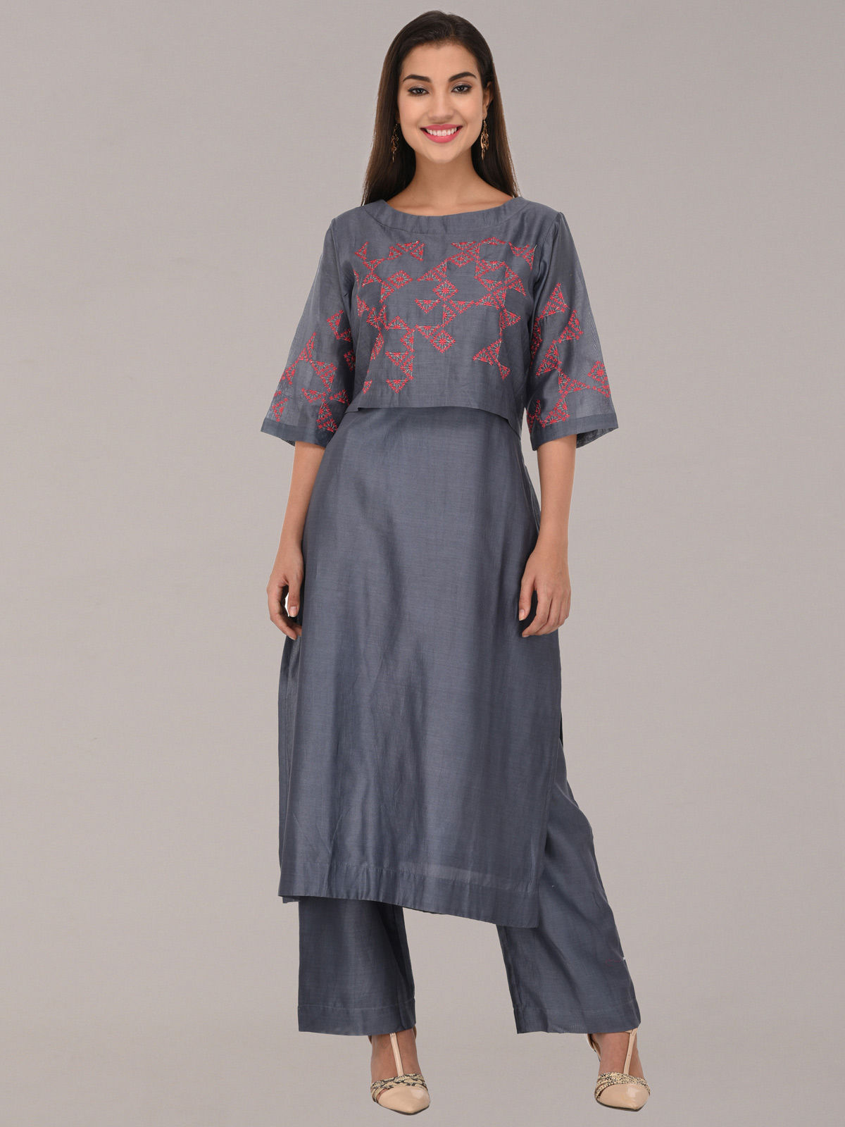 Embroided grey chanderi silk flare multi layered tunic with bottom