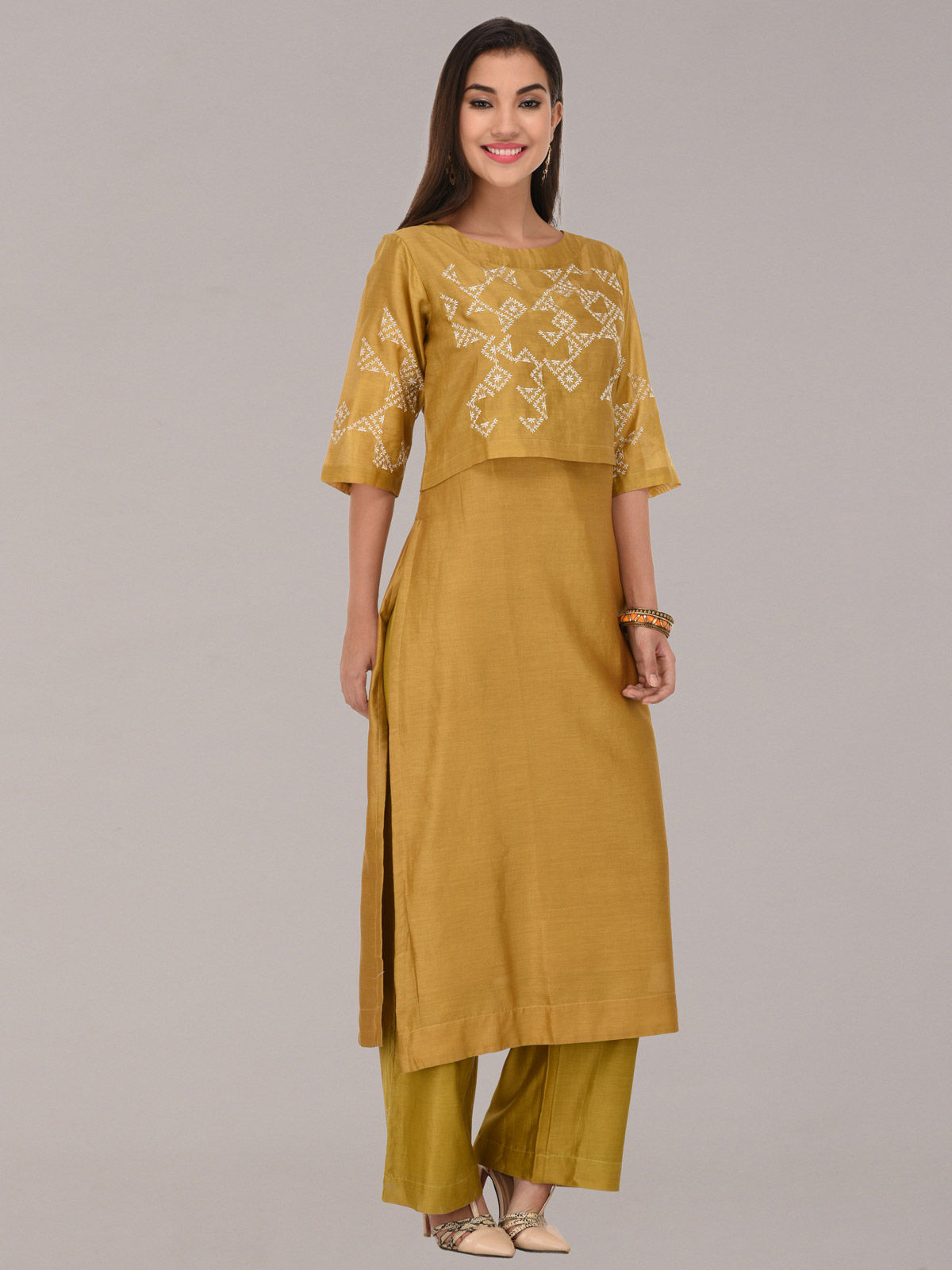 Embroided mustard chanderi silk straight tunic with bottom