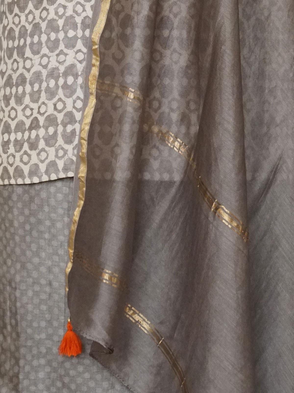 Kashish dabu tusser silk dress material with chanderi dupatta