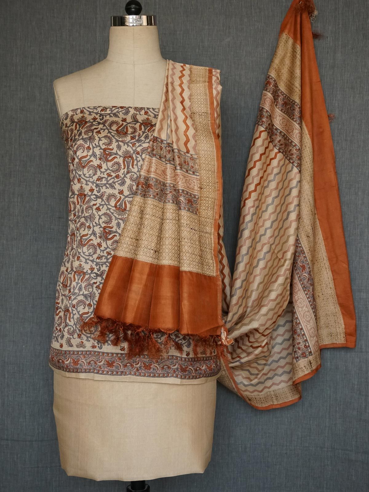 Beige tussar cotton multi printed dress material with dupatta