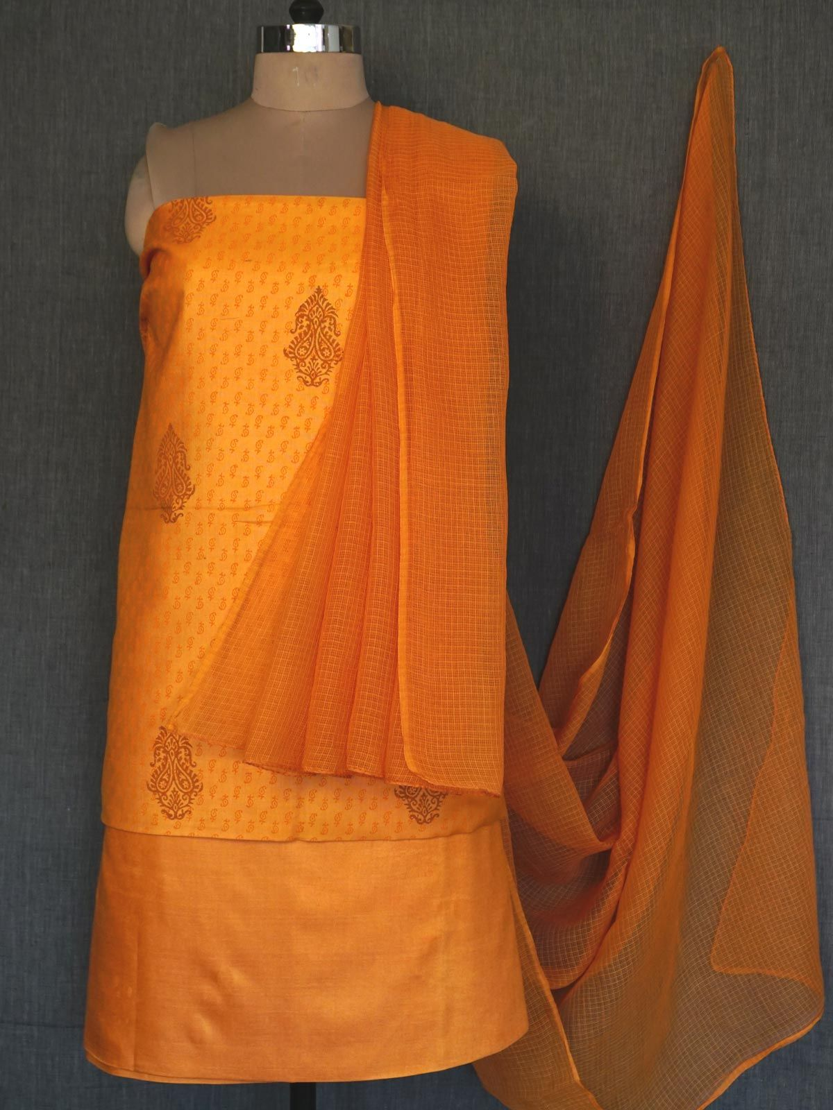 Burnt orange tussar cotton dress material with dupatta