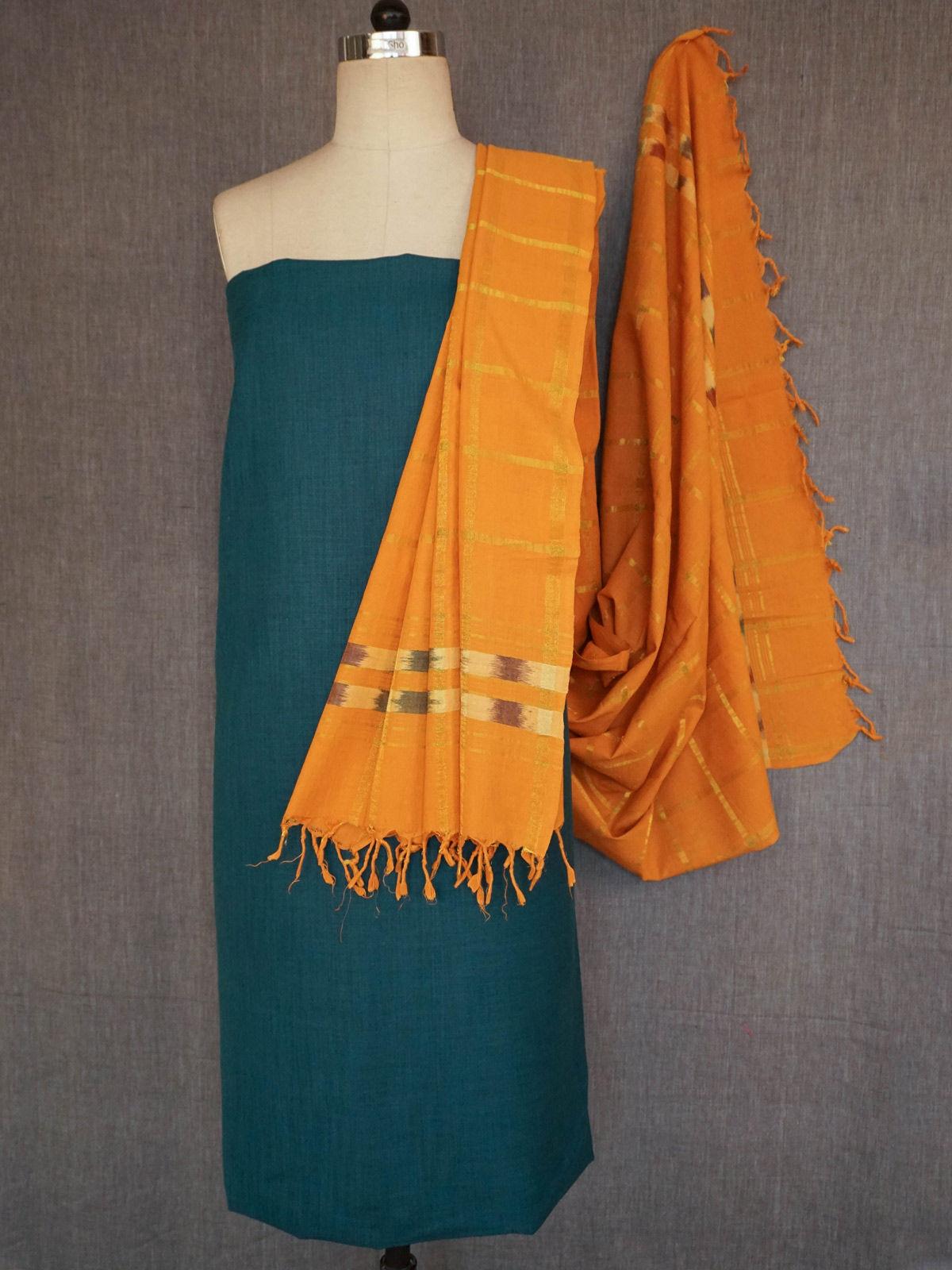 Dark green cotton slub dress material with handloom cotton dupatta