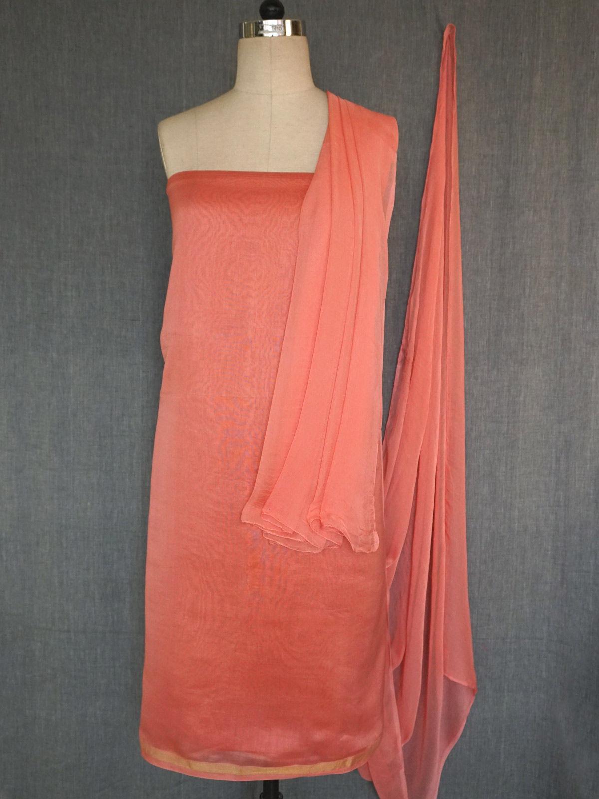 Peach chanderi dress material chifon dupatta