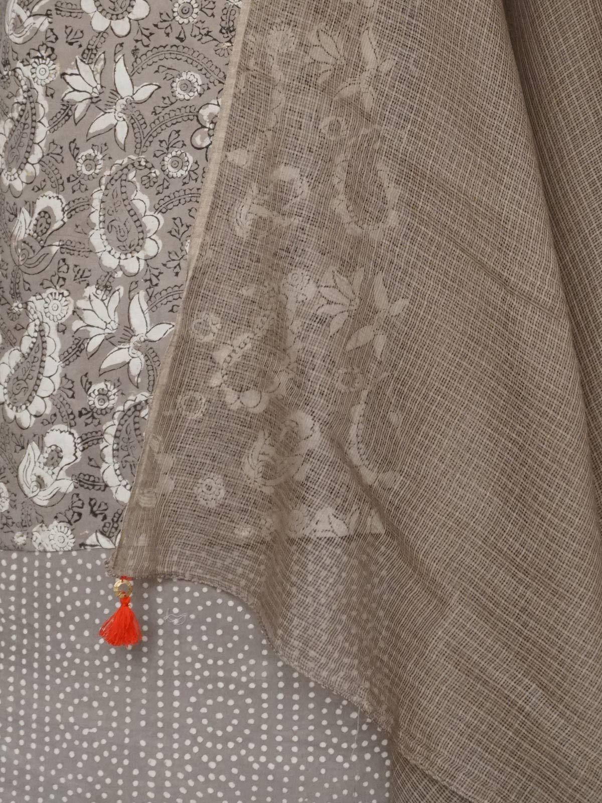 Brown hand block printed cotton dabu dress material with kota dupatta