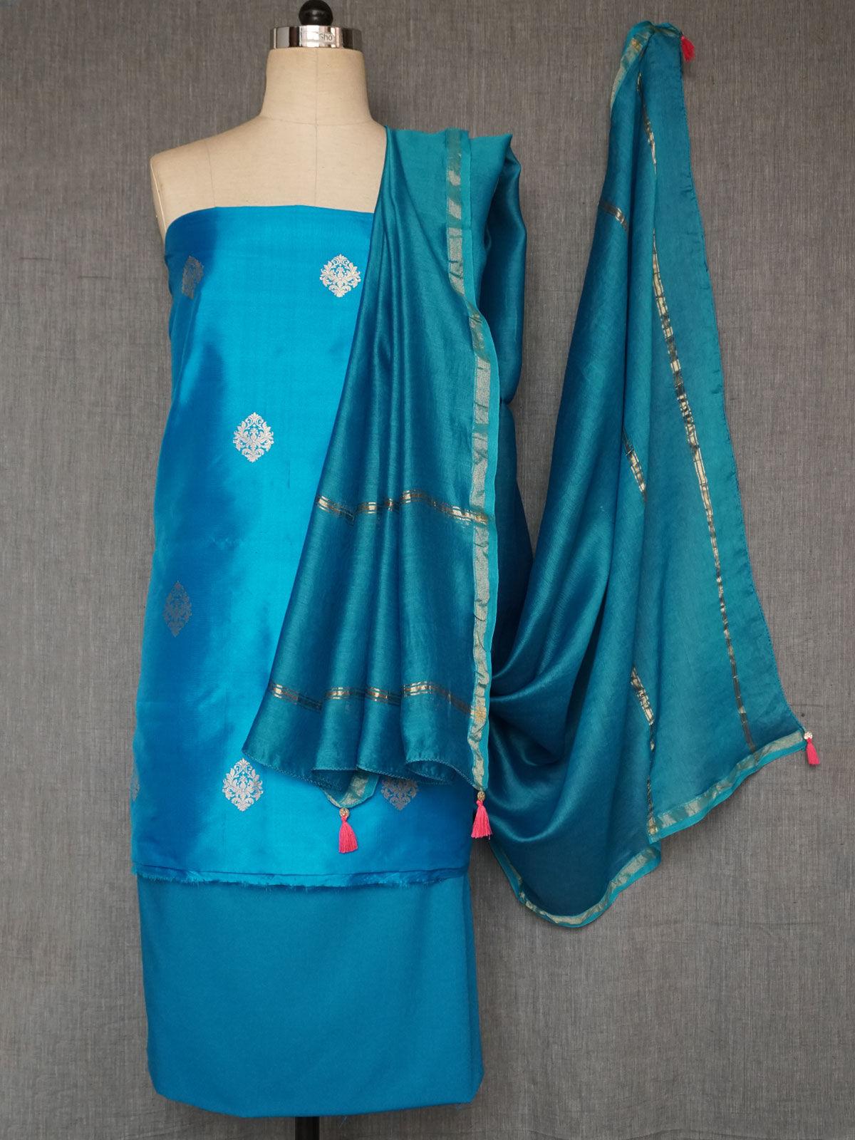 Teal woven zari booti silk dress material with chanderi dupatta