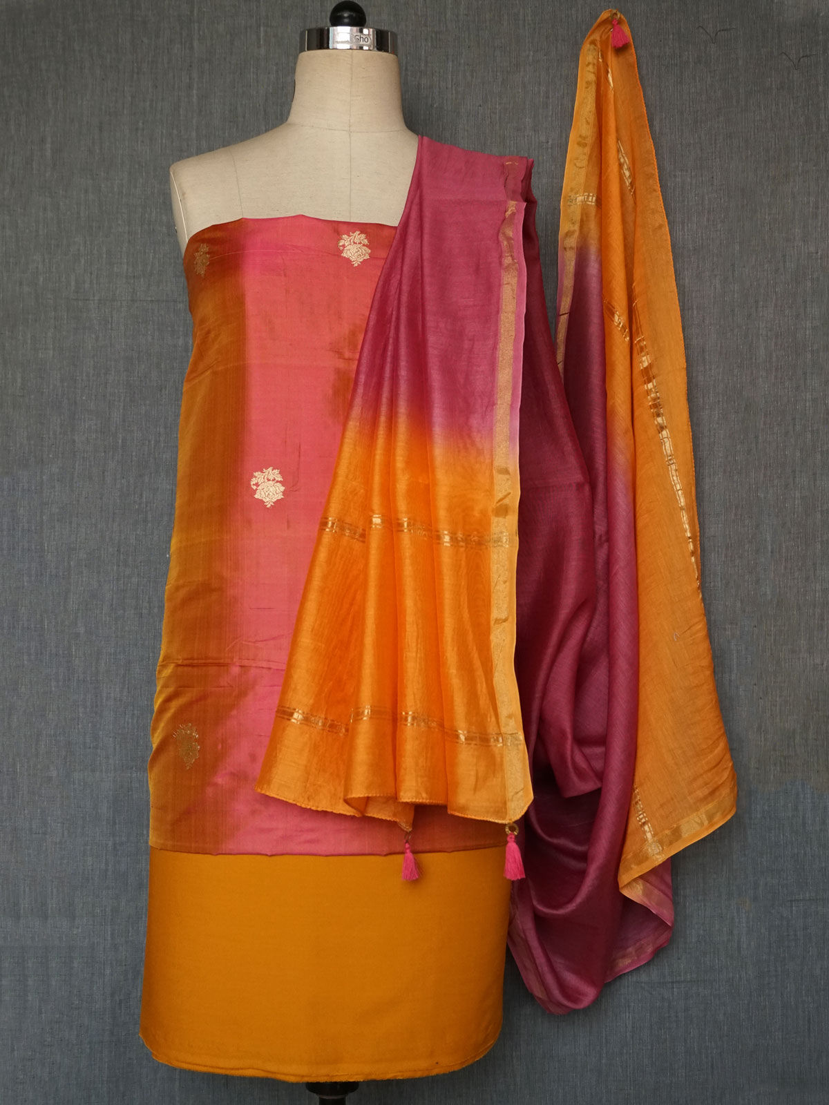 Pink orange tanchoi silk dress material with chanderi dupatta