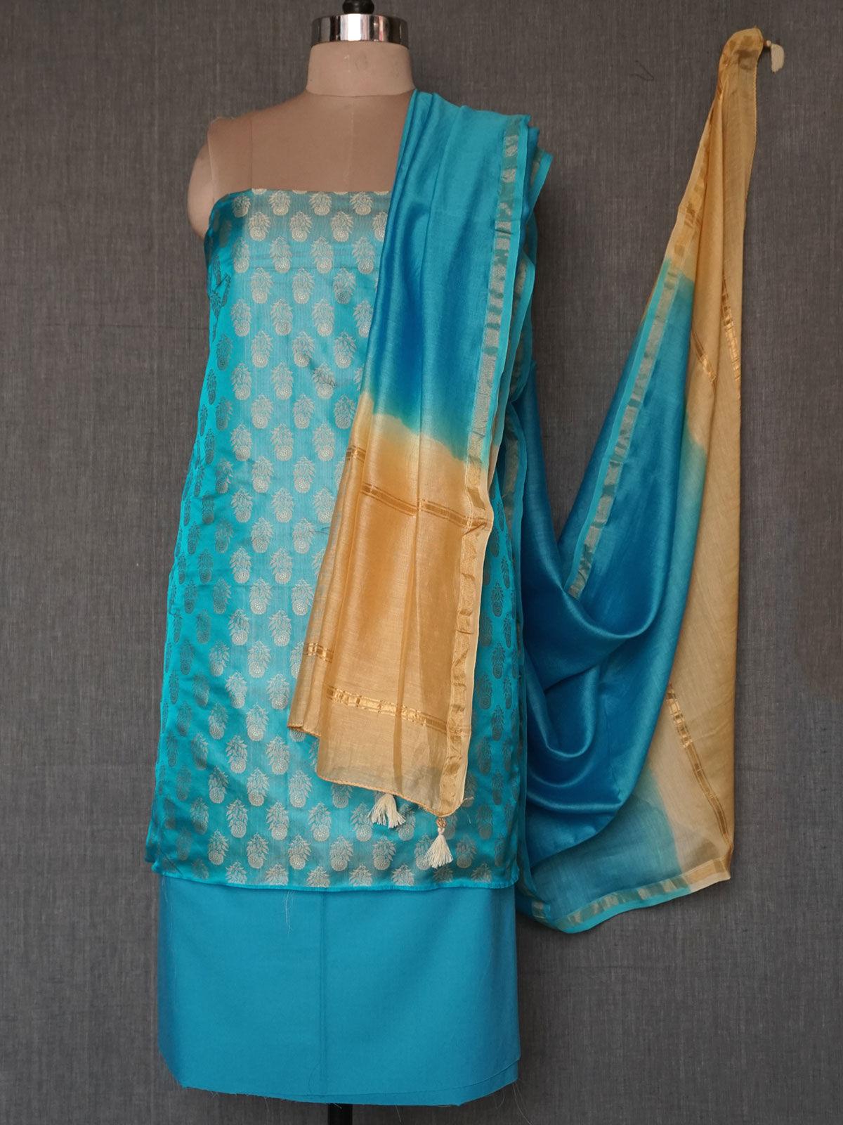 Blue beige tanchoi silk dress material with chanderi dupatta