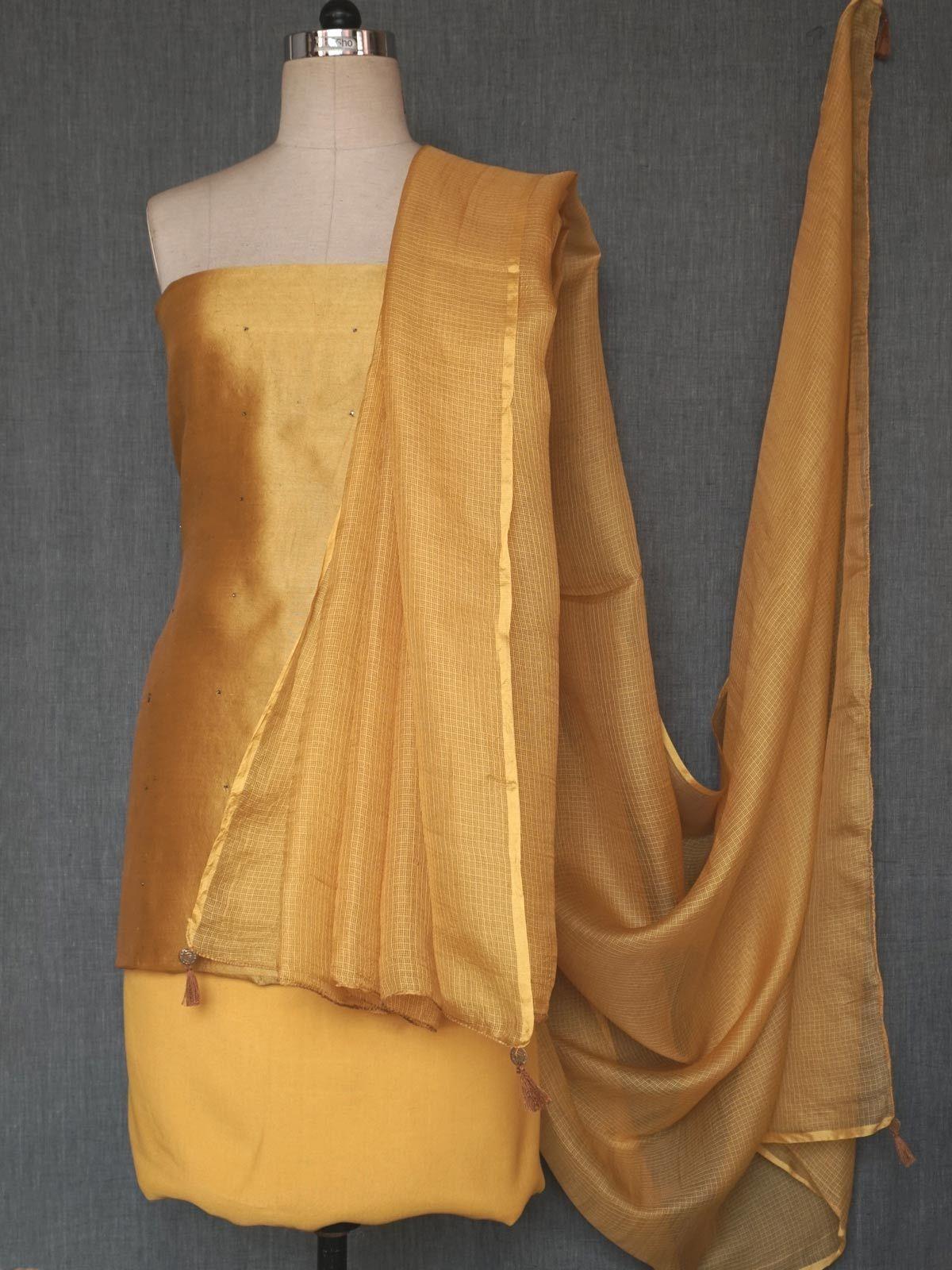 Muatard silk dress material with dupatta