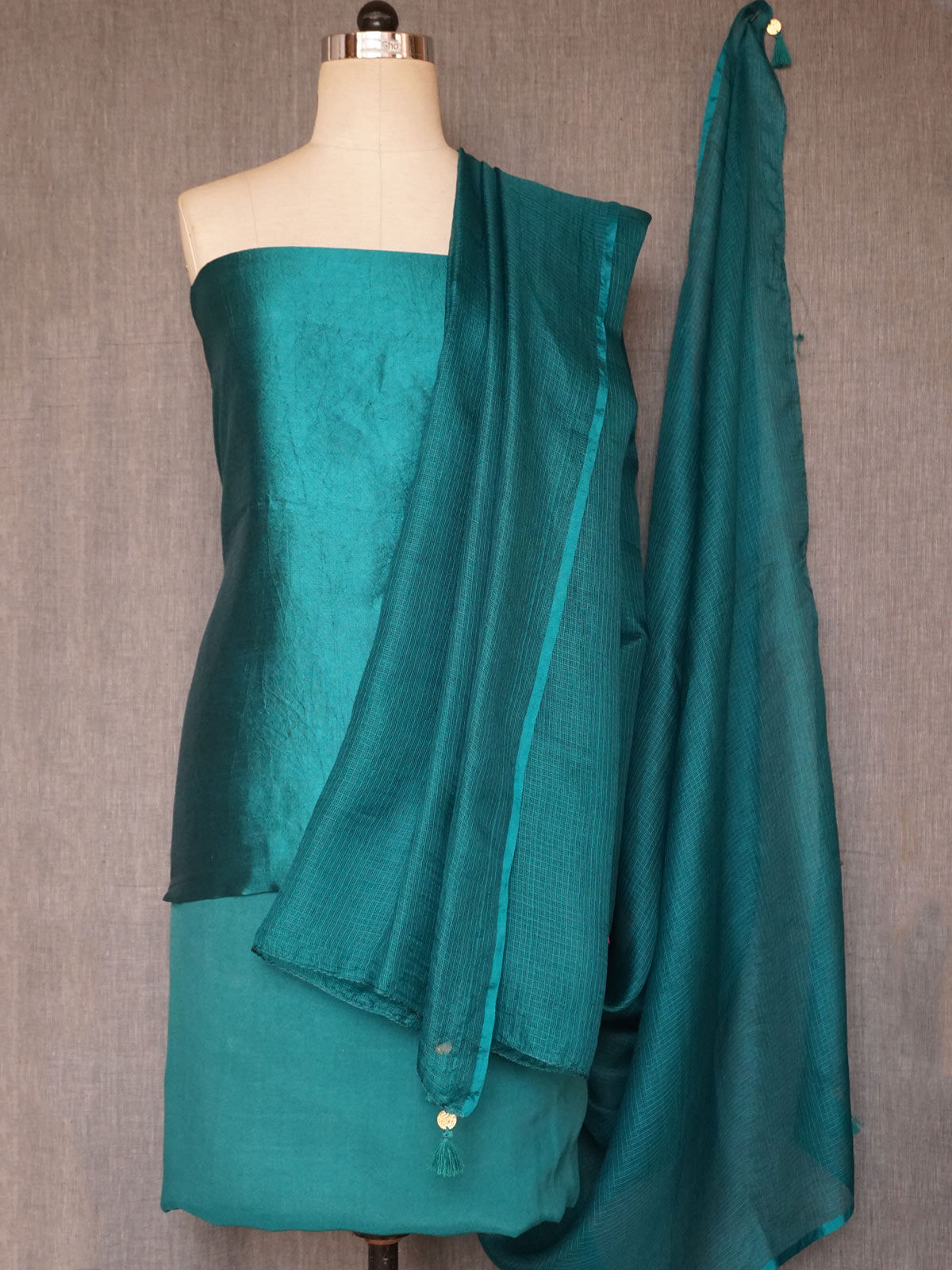 Teal silk dress material with hand badla & mukesh work with kota silk dupatta