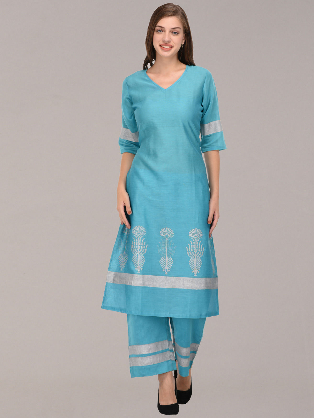 Silver Khari sky blue chanderi tunic with bottom with v shape neck