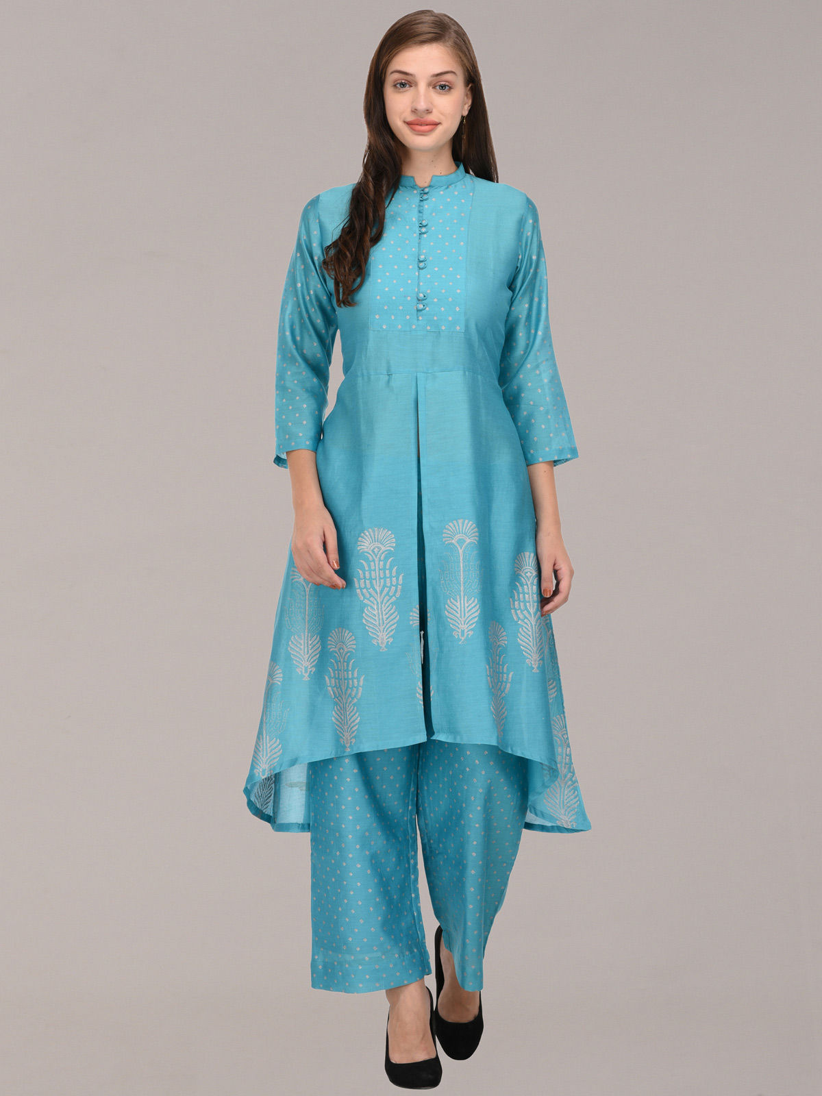 Silver Khari sky blue button detailing chanderi tunic with bottom
