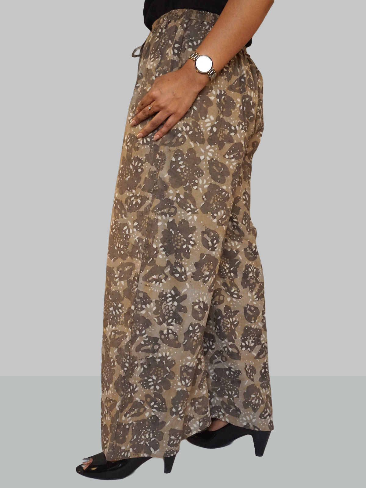 Brown cotton floral block printed palazzo
