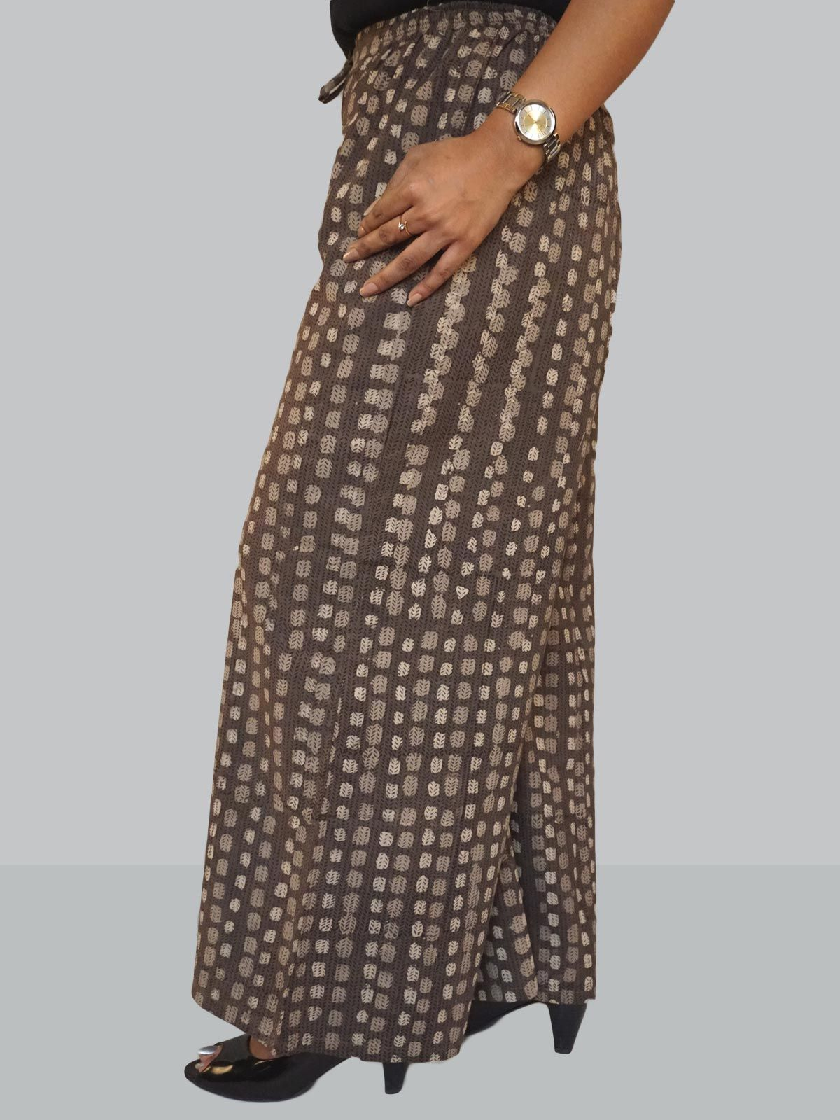 Brown cotton lines pattern block printed palazzo