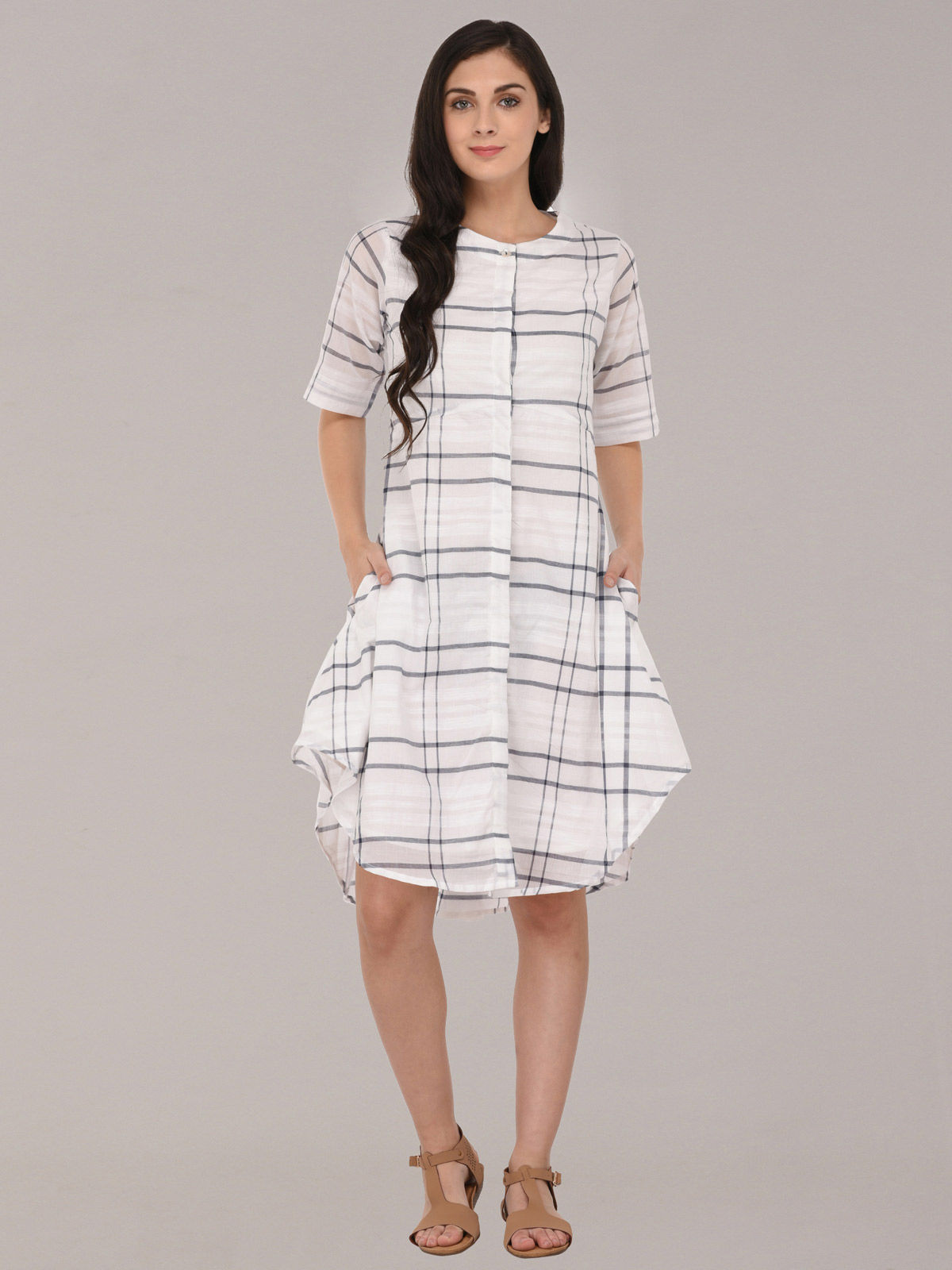LONG TUNIC TOP WITH GREY CHECK