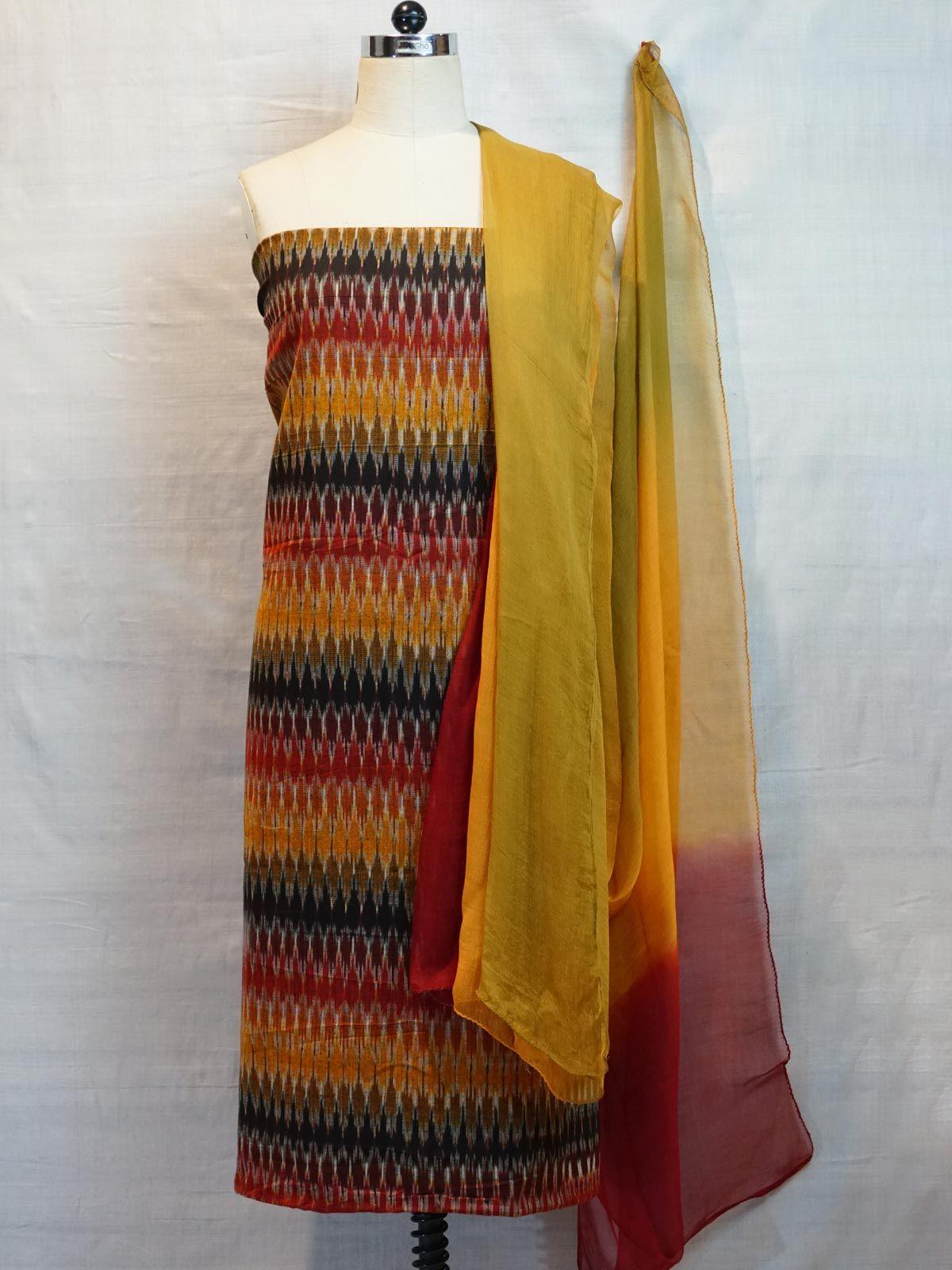 Ikat multi-colour fabric & chiffon dupatta.