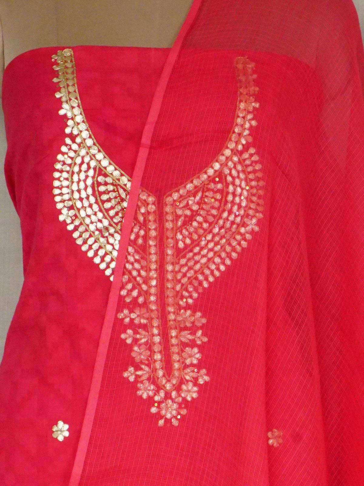 Cotton fabric kurta with gota patti work with cotton kota dupatta.