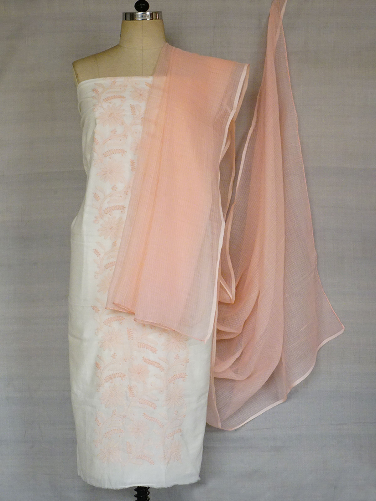 Fine pure cotton fabric with chikenkari thread work   with Kota cotton dupatta