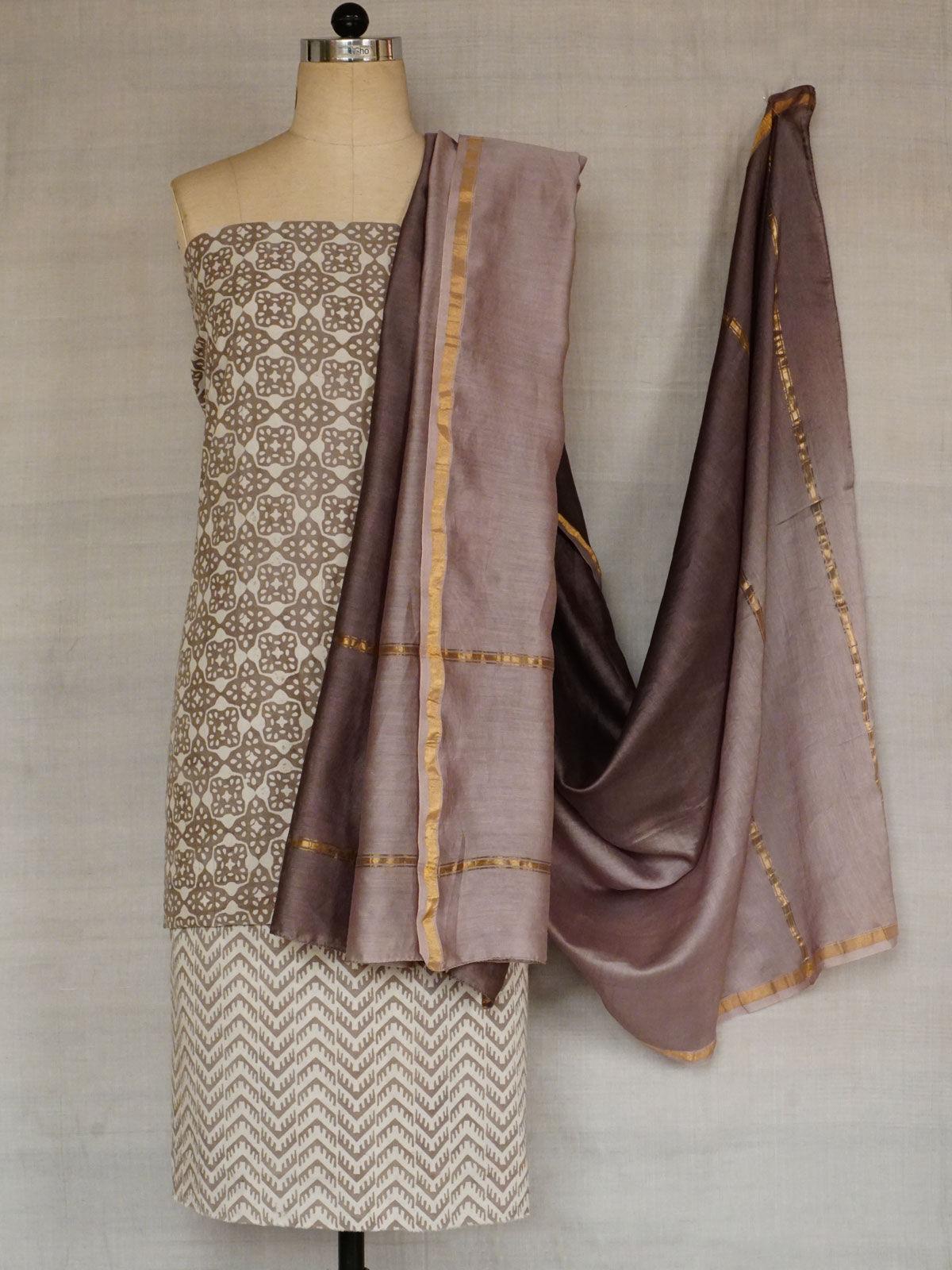 Cotton fabric in kashish grey color with chanderi dupatta.