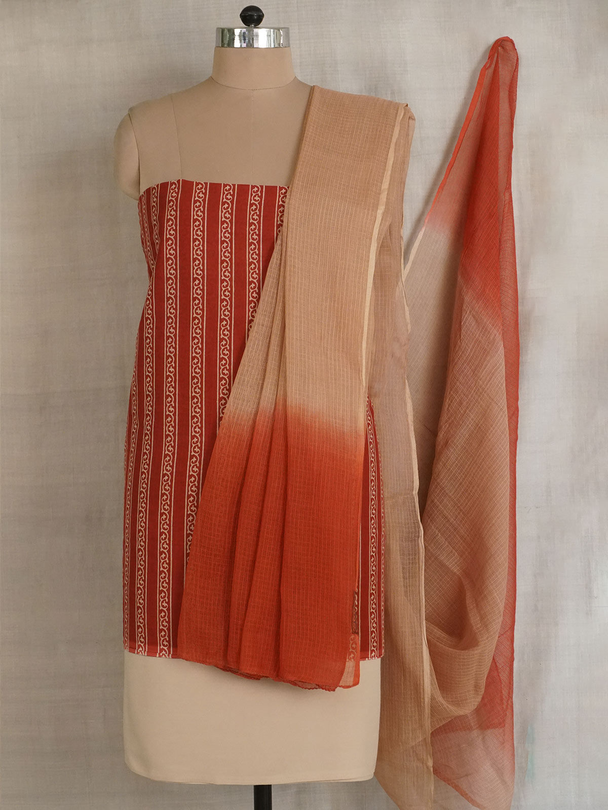 Beige and turkey red complete fabric set with kota cooton dupatta.