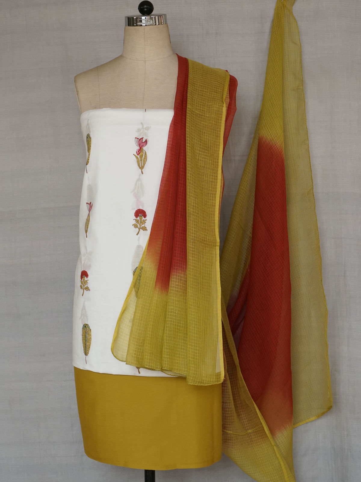 Olive green and Sappire Red dress material with kota dupatta.