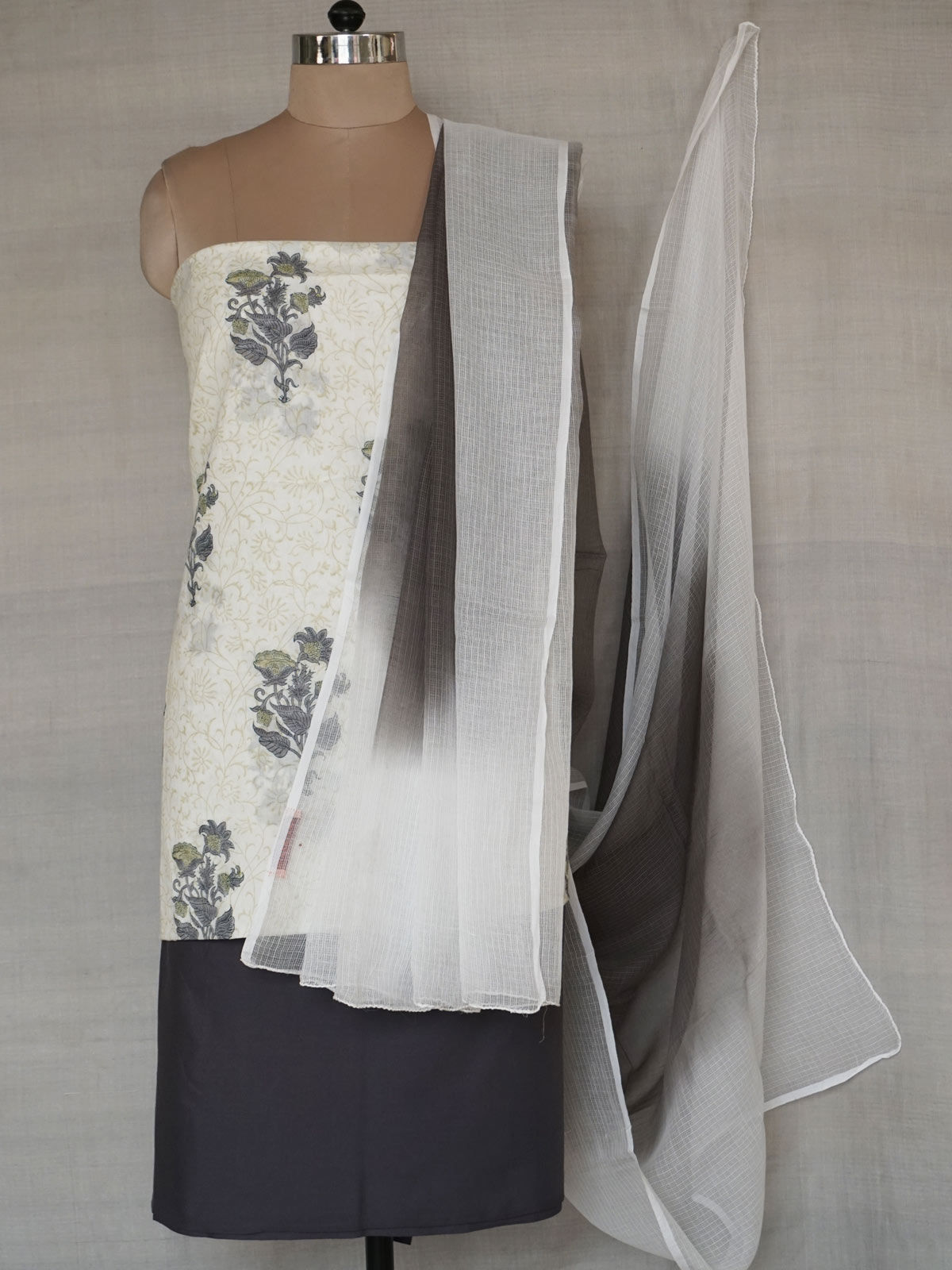 Grey complete mul fabric set with kota cotton dupatta.