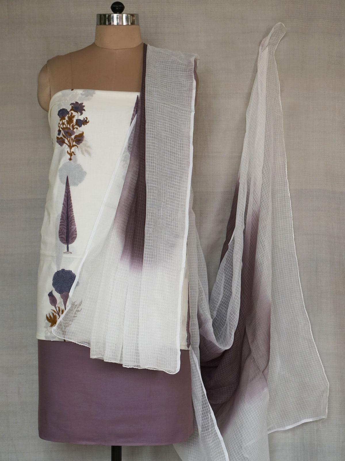 White & Purple fabric Complete ladies set with dupatta.