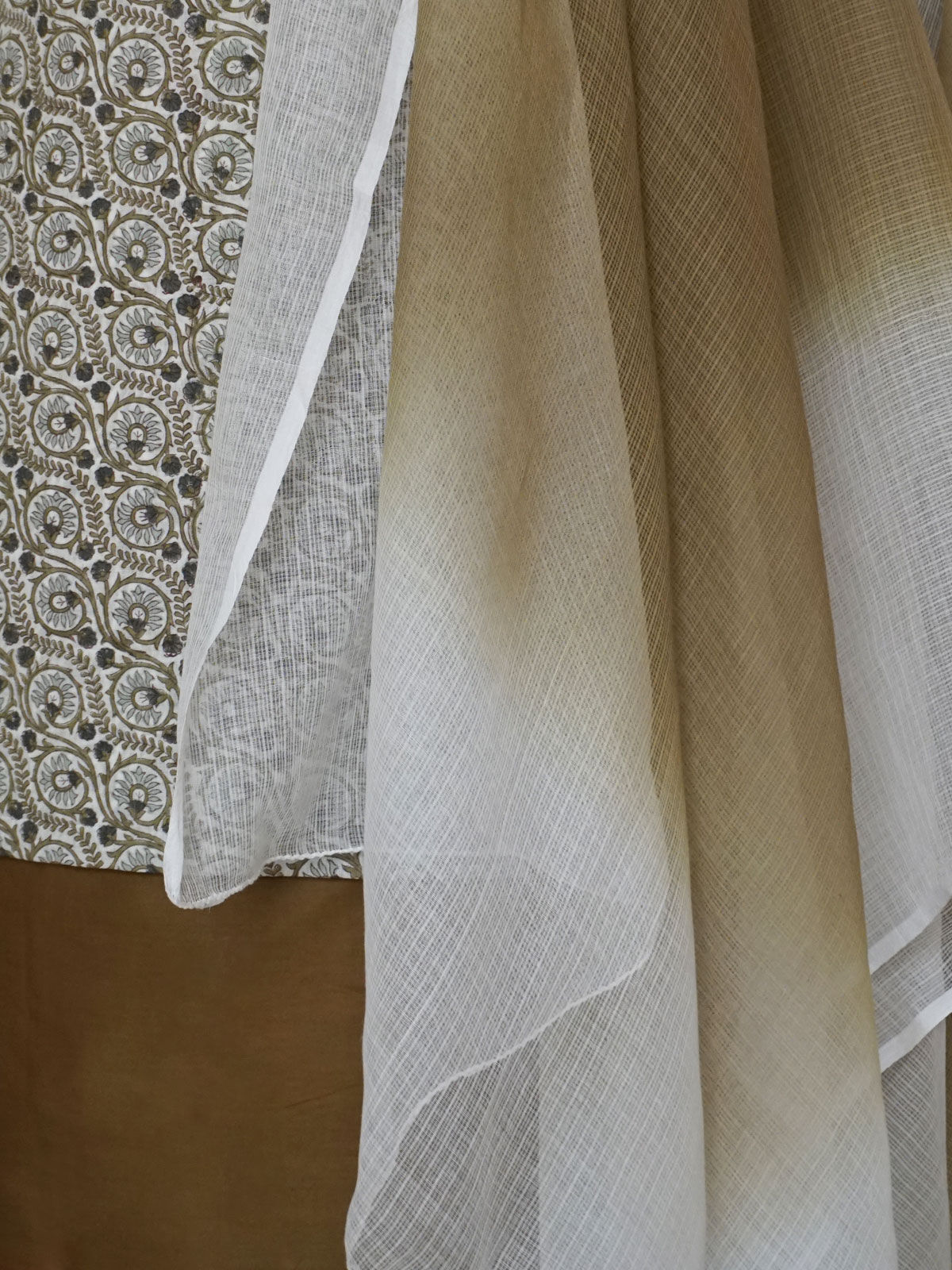 Multi colour  handblock printed complete fabrics  set with dupatta.