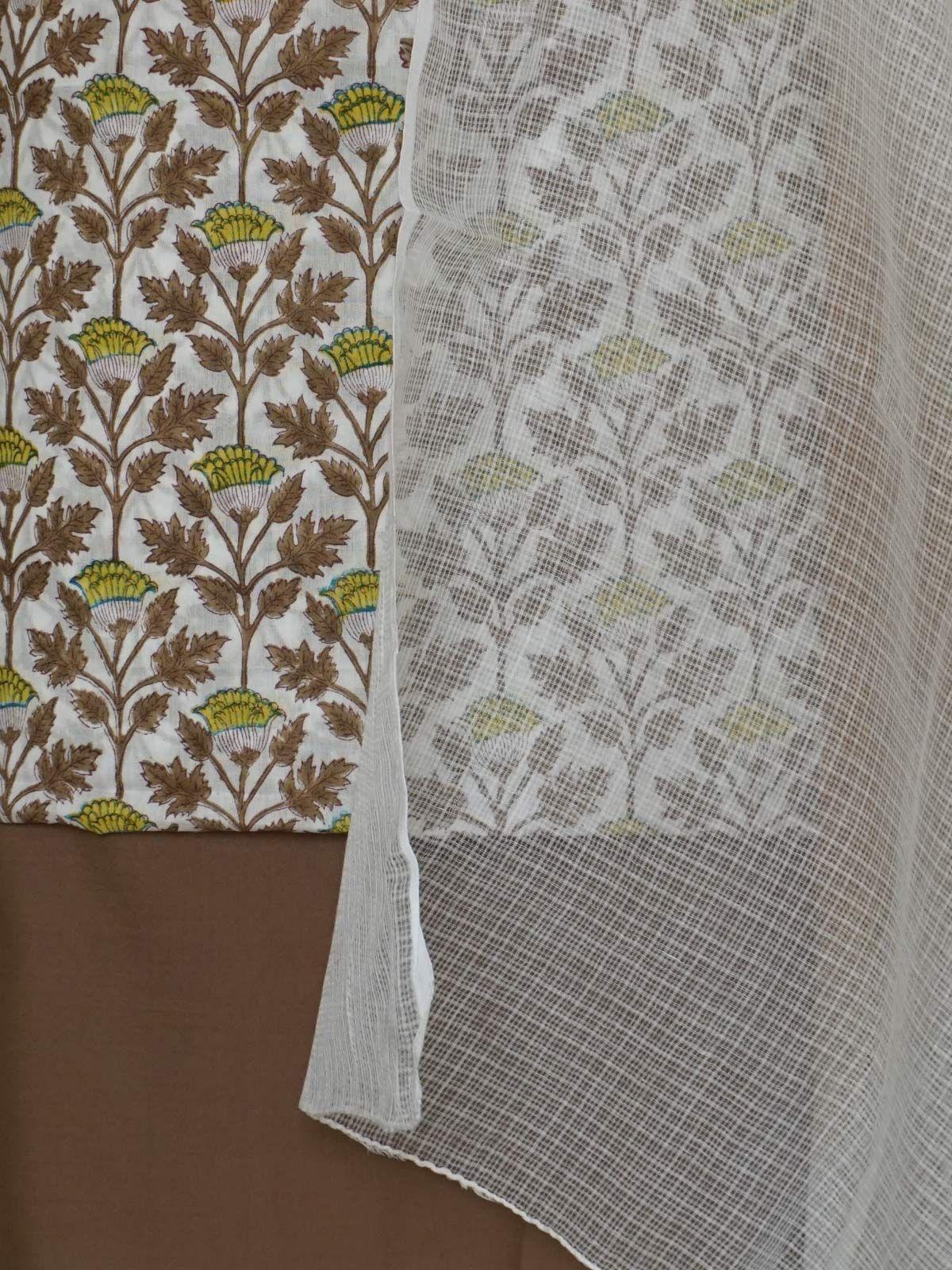 Multi colour  handblock printed complete fabric sladies set with kota cotton  dupatta.