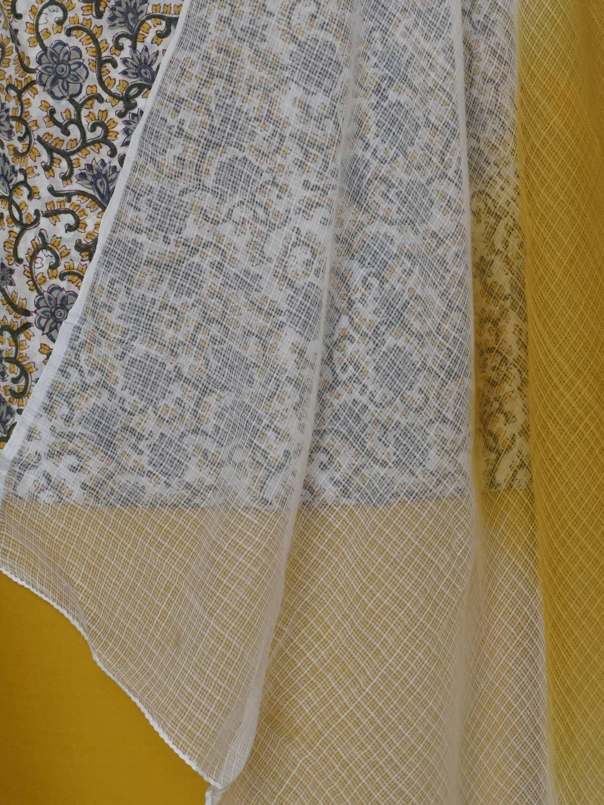 Fresh yellow complete fabric set with kota cotton dupatta.