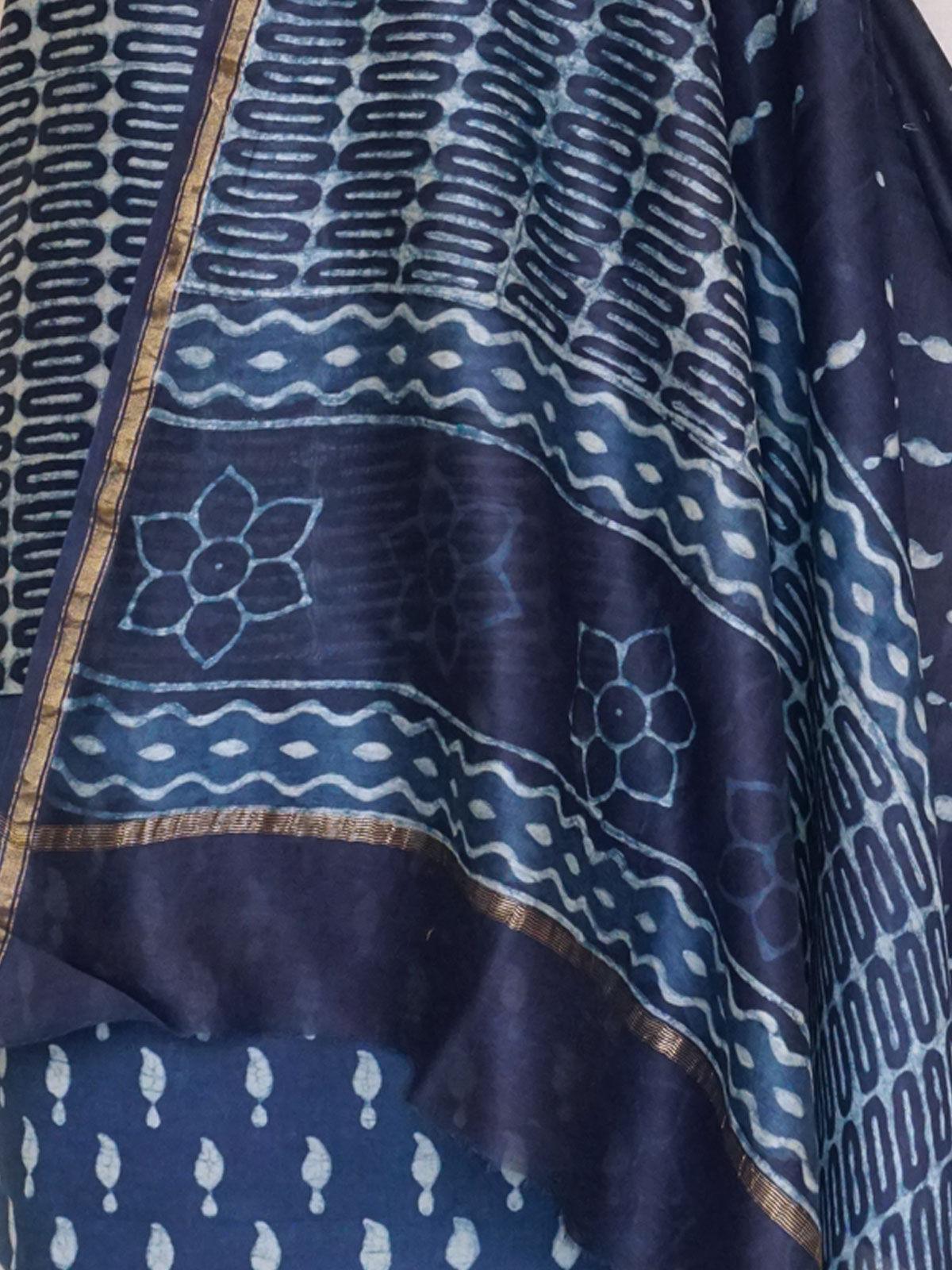 A set of pure indigo chanderi kurta, dupatta and cotton bottom.
